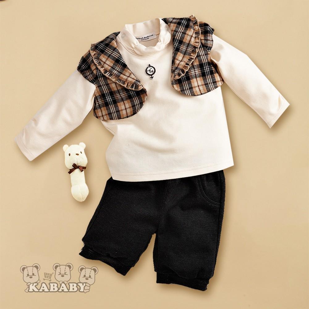 【金安德森】秋冬新生兒禮盒-三件式格子背心套裝(卡色)