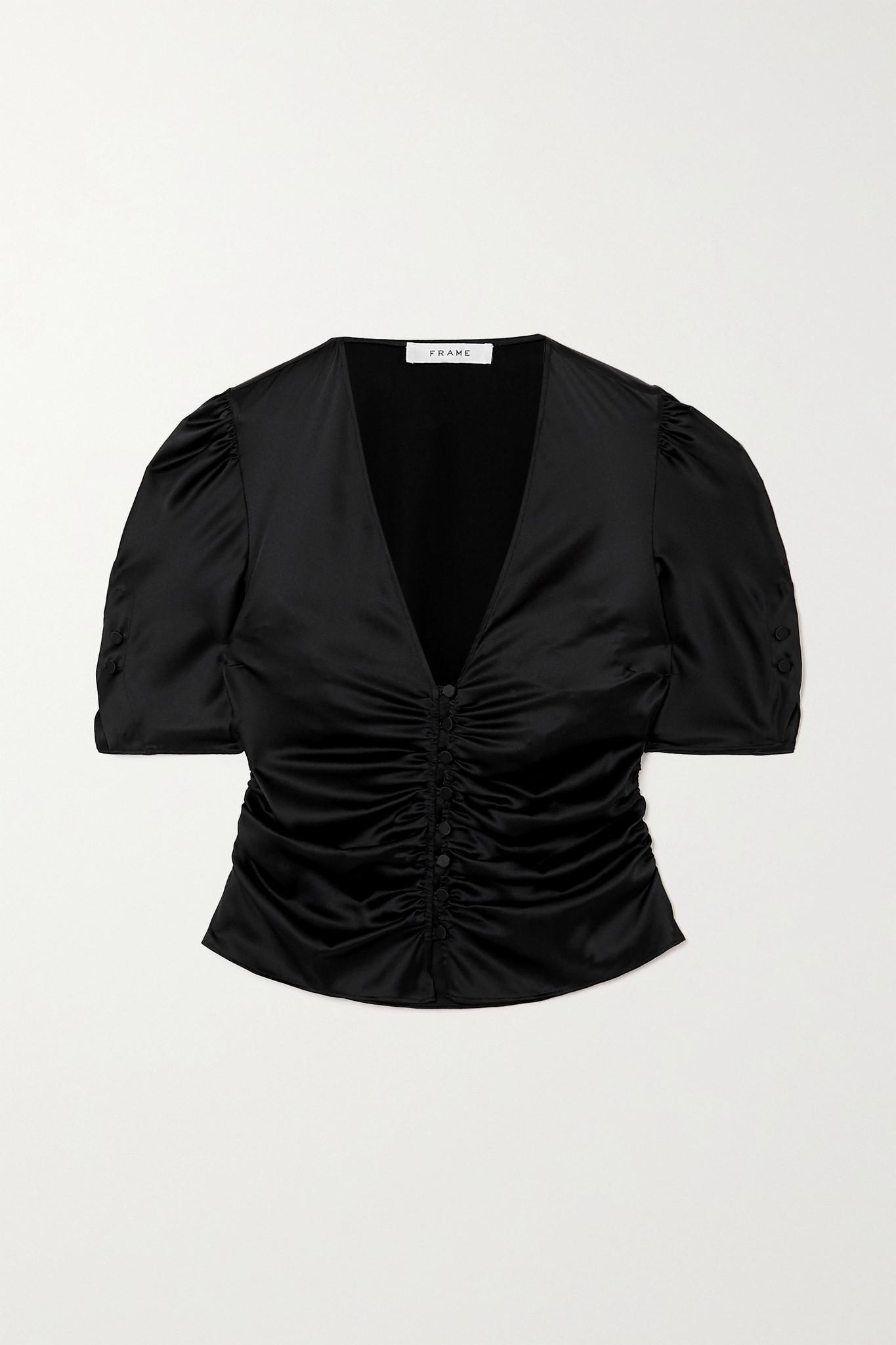 FRAME - Camile 褶饰单利丝缎上衣 - 黑色 - medium
