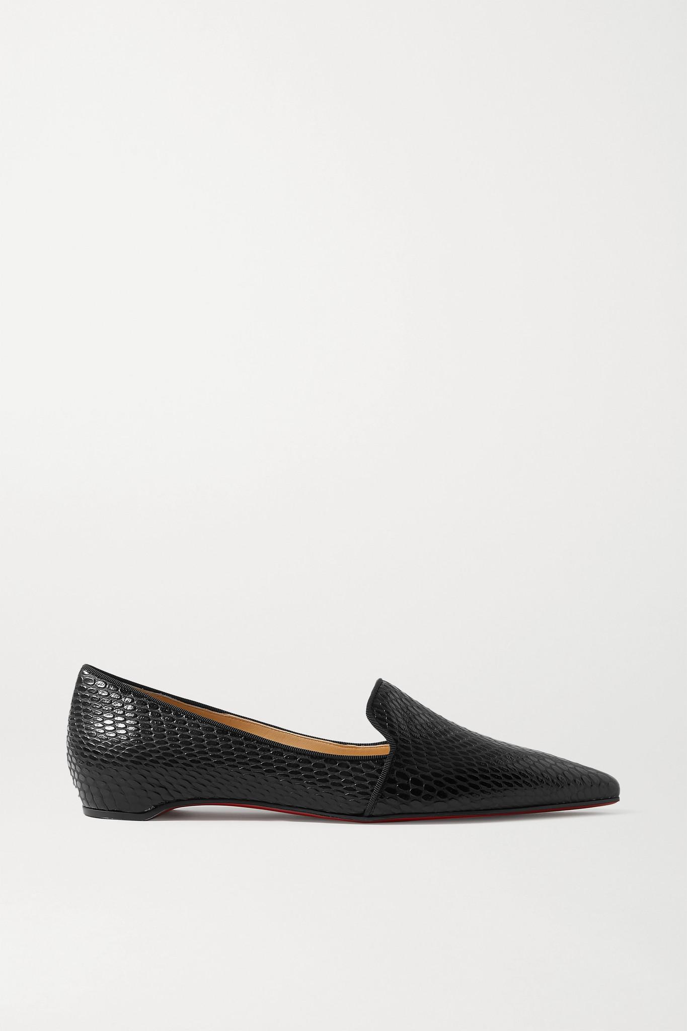 CHRISTIAN LOUBOUTIN - Kashasha Lizard-effect Leather Loafers - Black - IT35.5