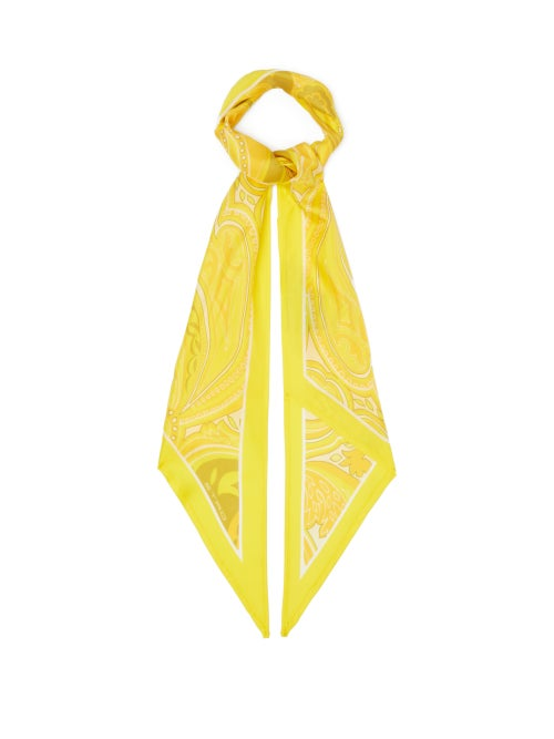 Etro - Antibes Paisley Silk-twill Scarf - Womens - Yellow Multi
