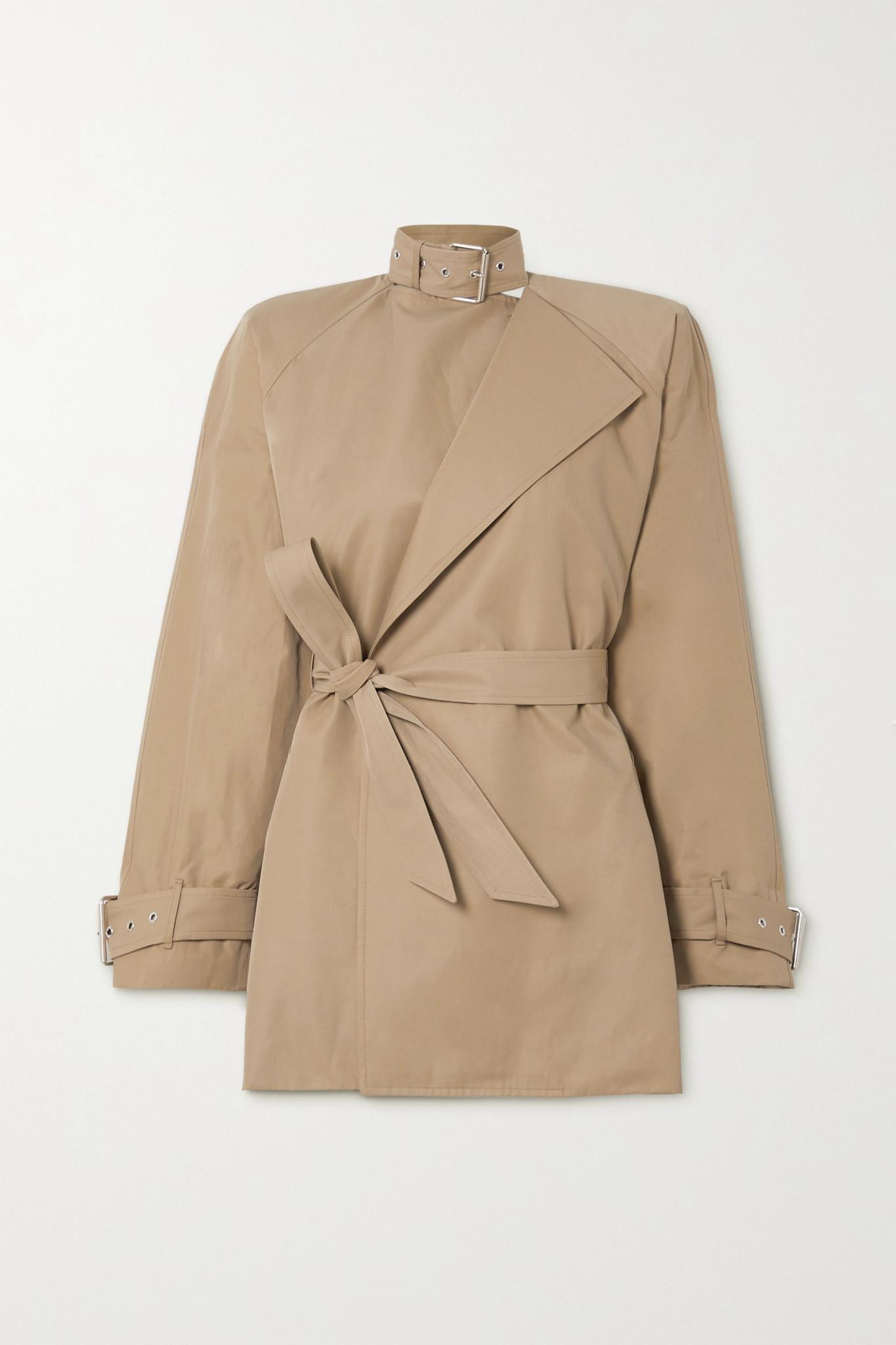 BALENCIAGA - 配腰带棉质混纺斜纹布外套 - 中性色 - FR38