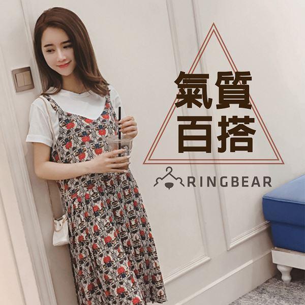 無袖洋裝--夏日森林系波西米亞風印花細肩帶百褶下襬連身裙(紅XL-4L)-D448眼圈熊中大尺碼