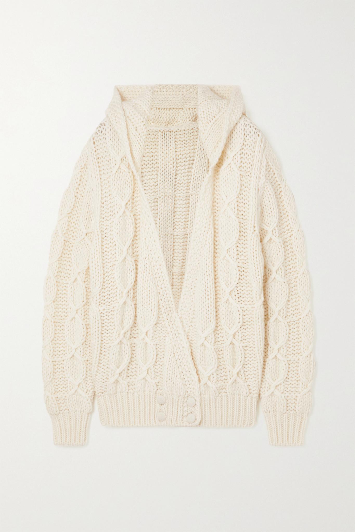 SAINT LAURENT - 绞花针织羊毛混纺连帽开襟衫 - 白色 - medium