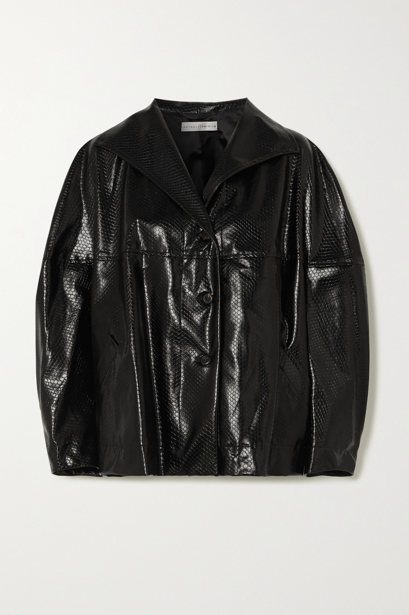 PALMER//HARDING - Rhesus Oversized Snake-effect Faux Leather Jacket - Black - XS/S