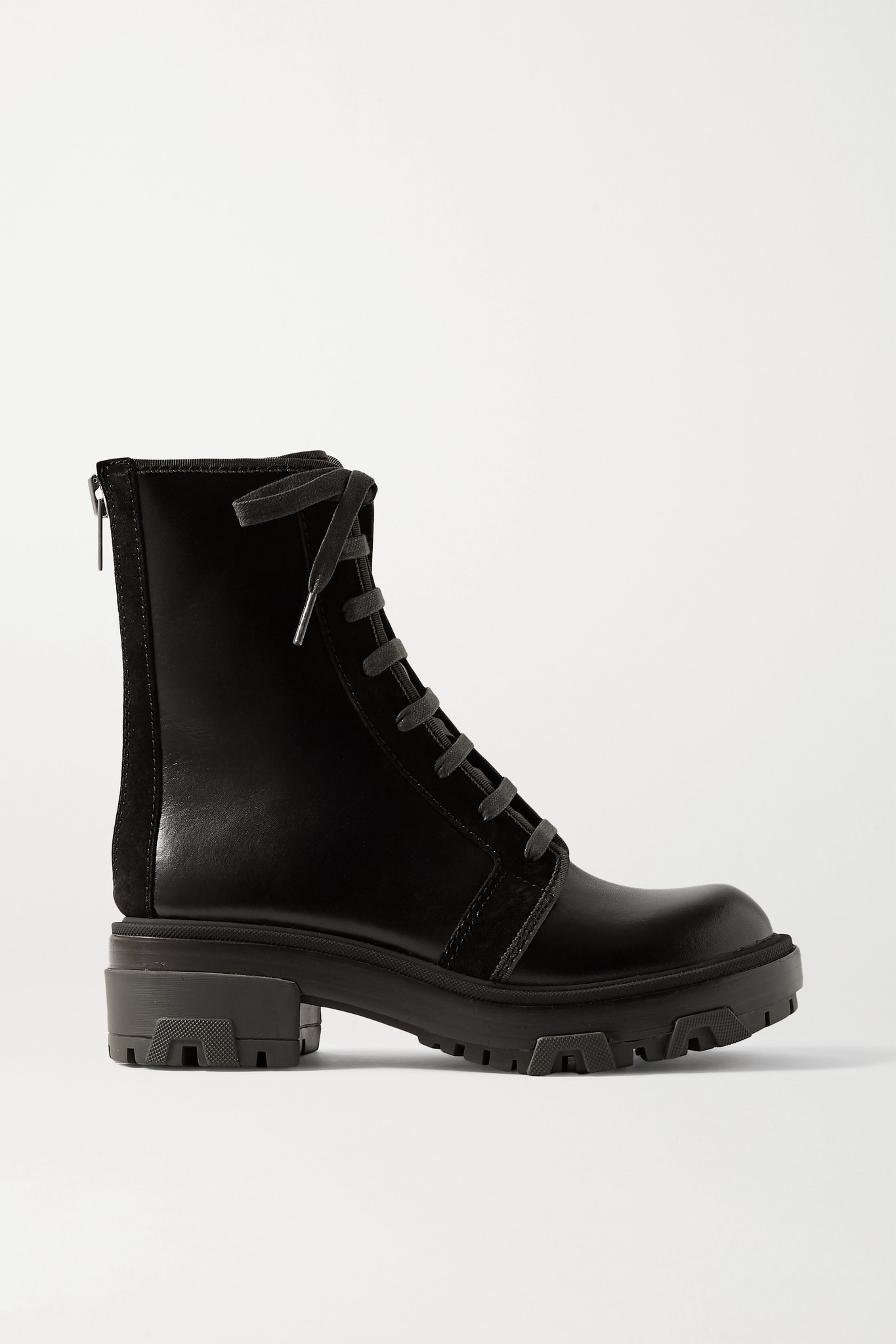 RAG & BONE - Shaye Hiker Suede-trimmed Leather Ankle Boots - Black - IT38