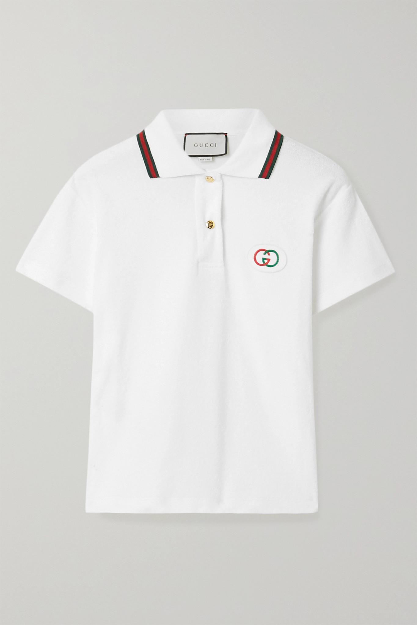 GUCCI - Appliquéd Cotton-terry Polo Shirt - White - xx small