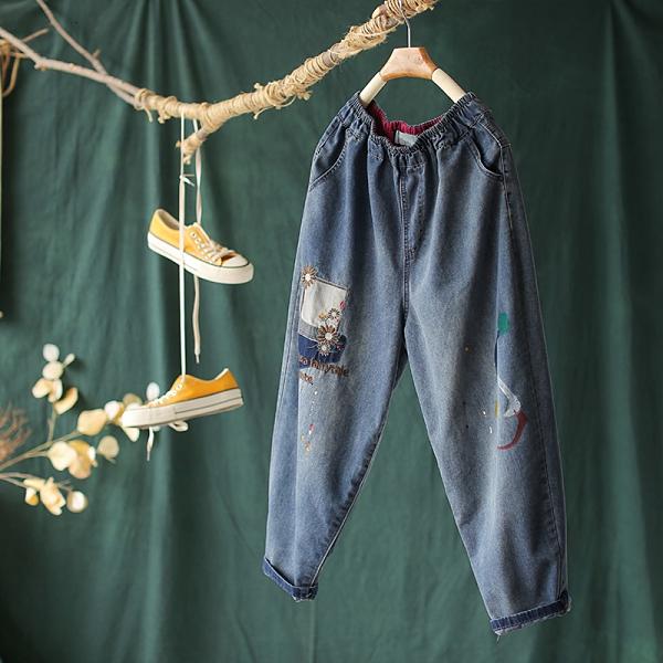 貼布刺繡牛仔褲韓版九分哈倫褲子/設計家K4089