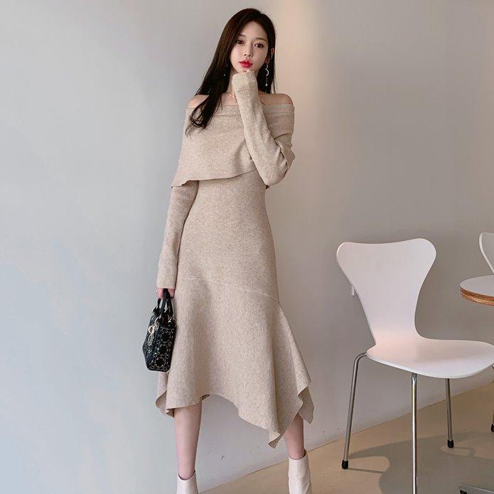 【限量現貨供應】連身裙.優雅時尚可兩穿露肩不規則裙襬長袖洋裝.白鳥麗子 出清