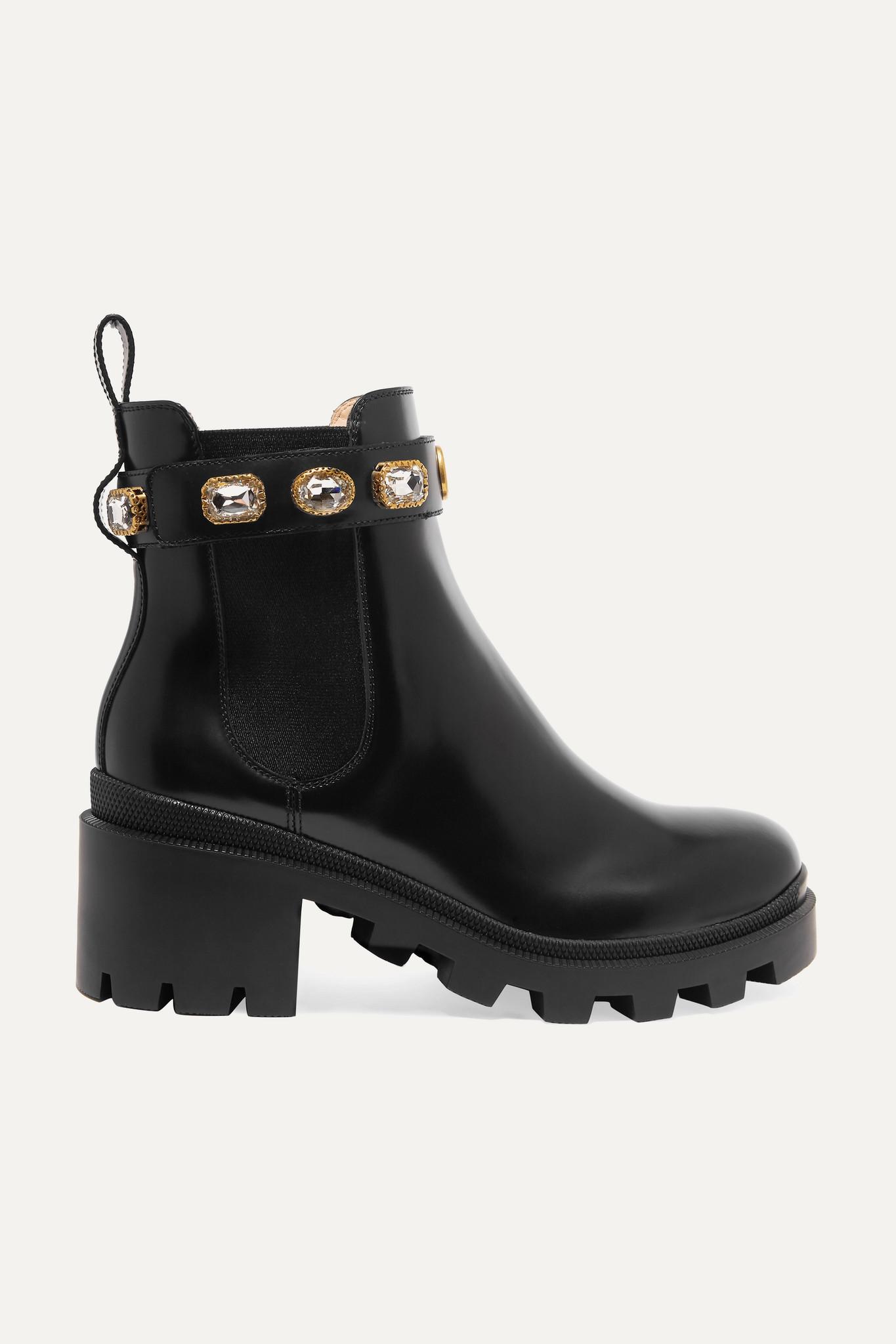 GUCCI - 水晶缀饰皮革切尔西靴 - 黑色 - IT35.5