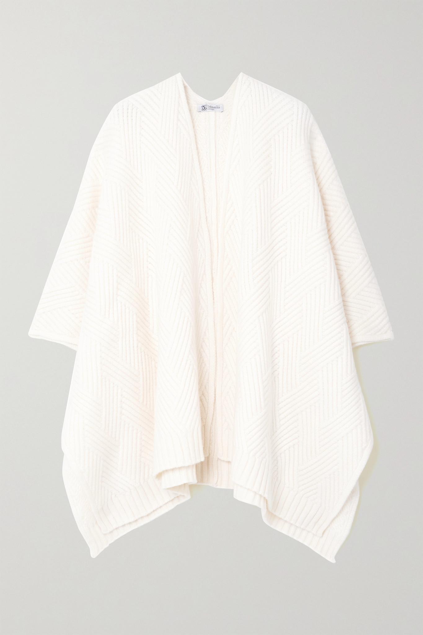 JOHNSTONS OF ELGIN - 【net Sustain】hanna 罗纹羊绒裹身围巾 - 白色 - One size