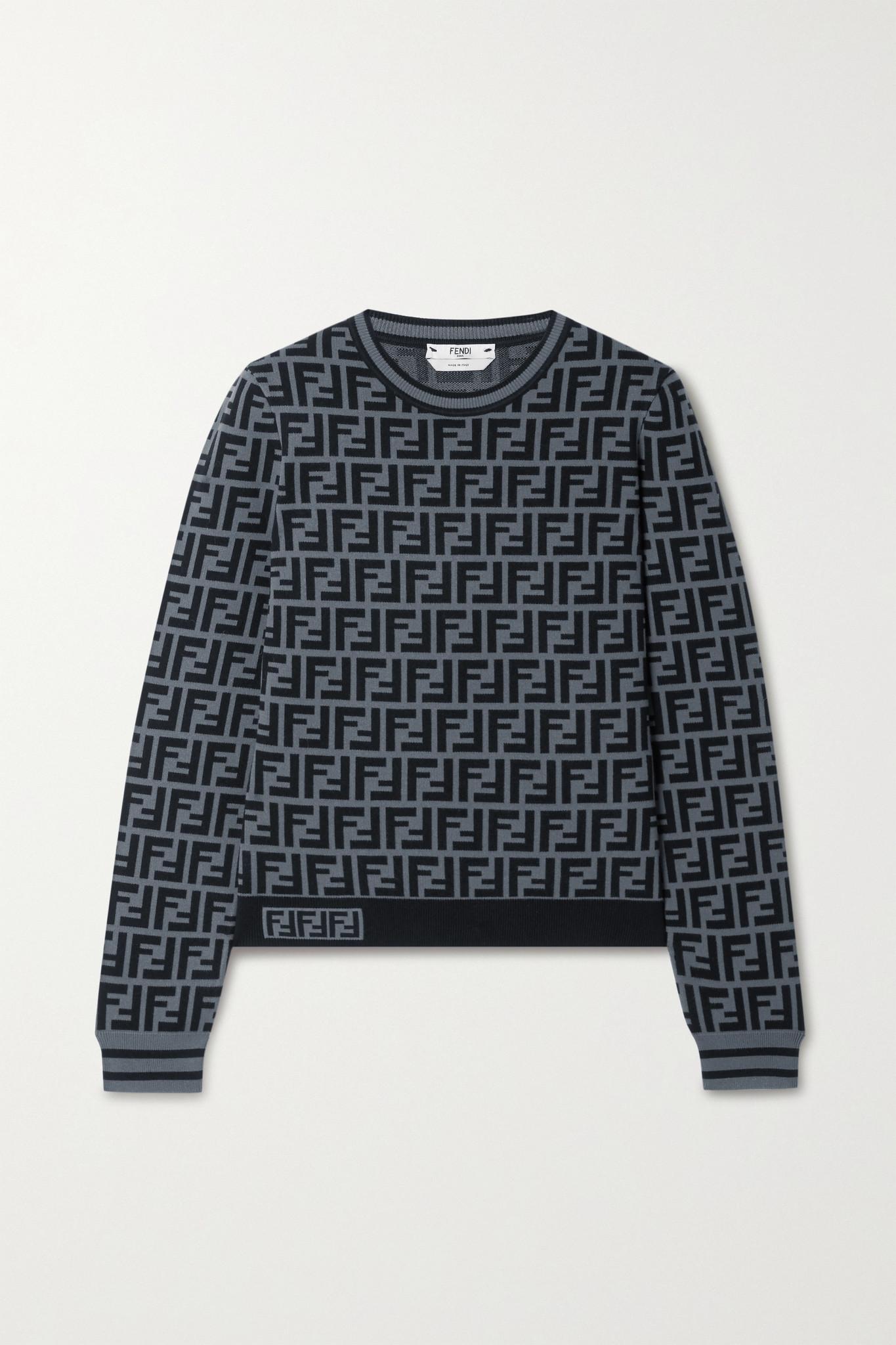 FENDI - Jacquard-knit Sweater - Gray - IT36