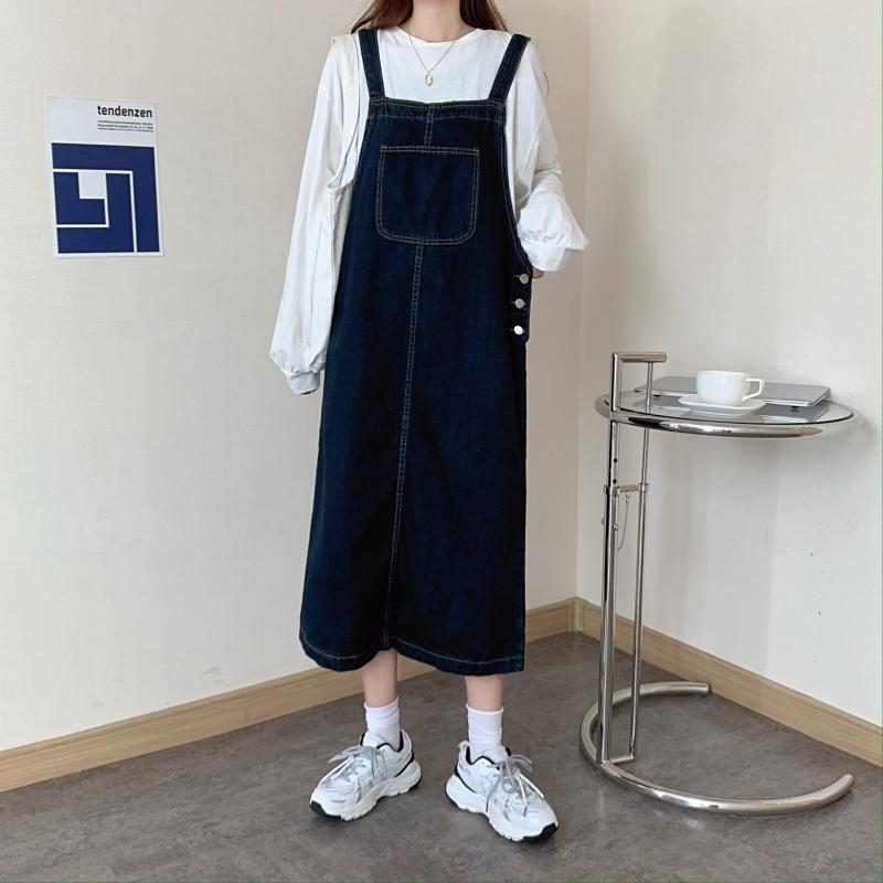 韓版中長款寬松休閑復古網紅背帶裙深色開叉牛仔連衣裙