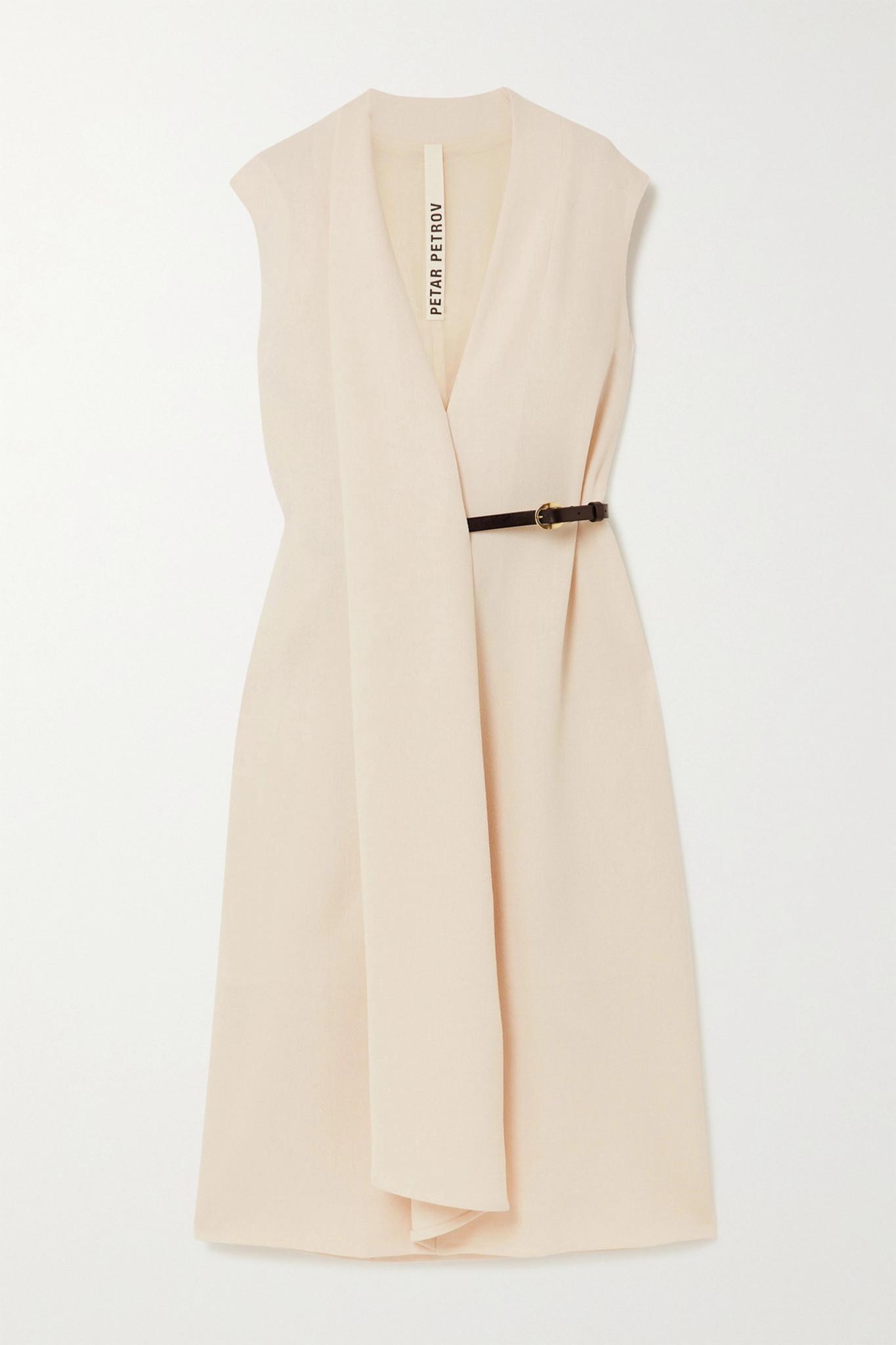 PETAR PETROV - Alen Belted Wool-crepe Midi Dress - Ivory - FR34
