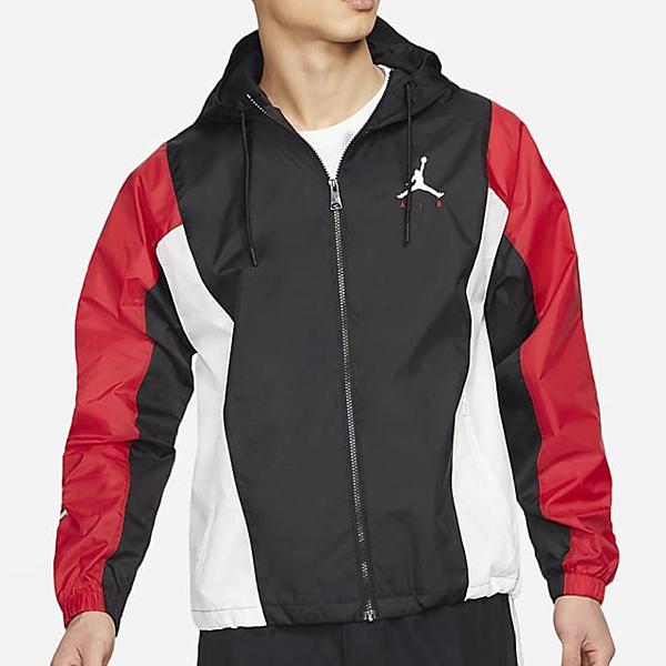 NIKE Jordan 男裝 外套 夾克 連帽 輕盈 透氣 休閒 小跳人 刺繡 黑紅白【運動世界】CV2241-010
