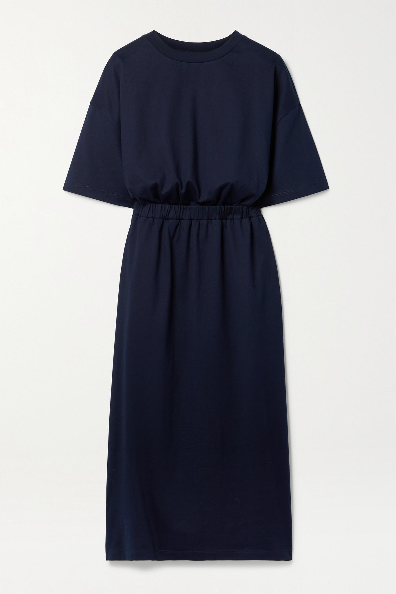 NINETY PERCENT - 【net Sustain】缩褶有机纯棉平纹布中长连衣裙 - 蓝色 - large