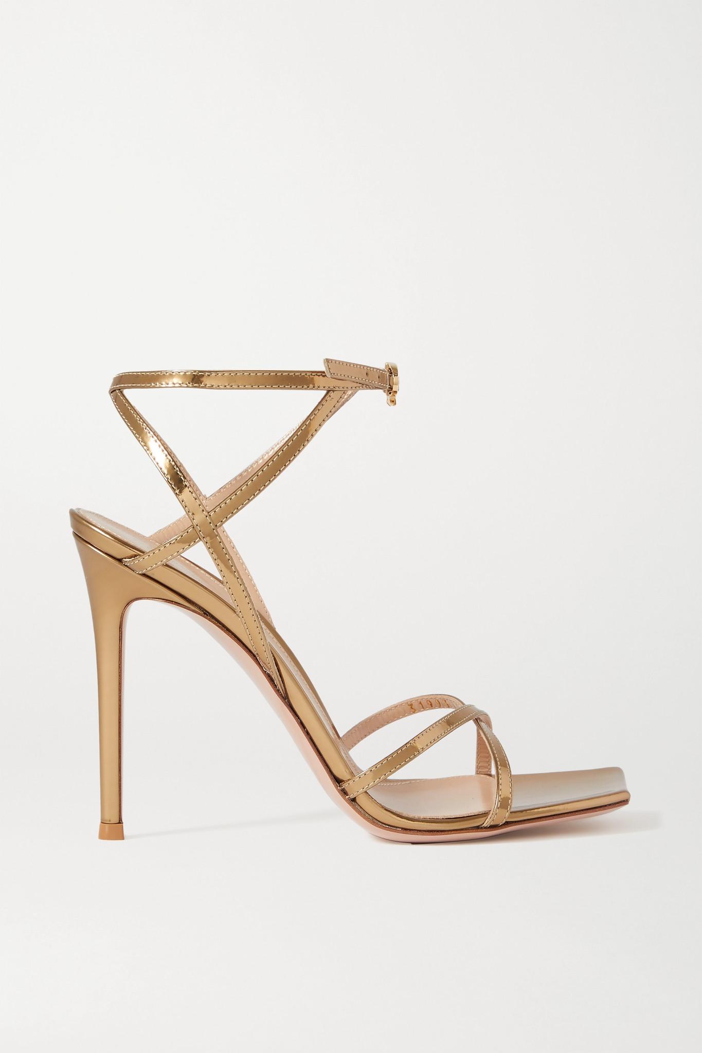 GIANVITO ROSSI - Georgina 105 金属感皮革凉鞋 - 金色 - IT36