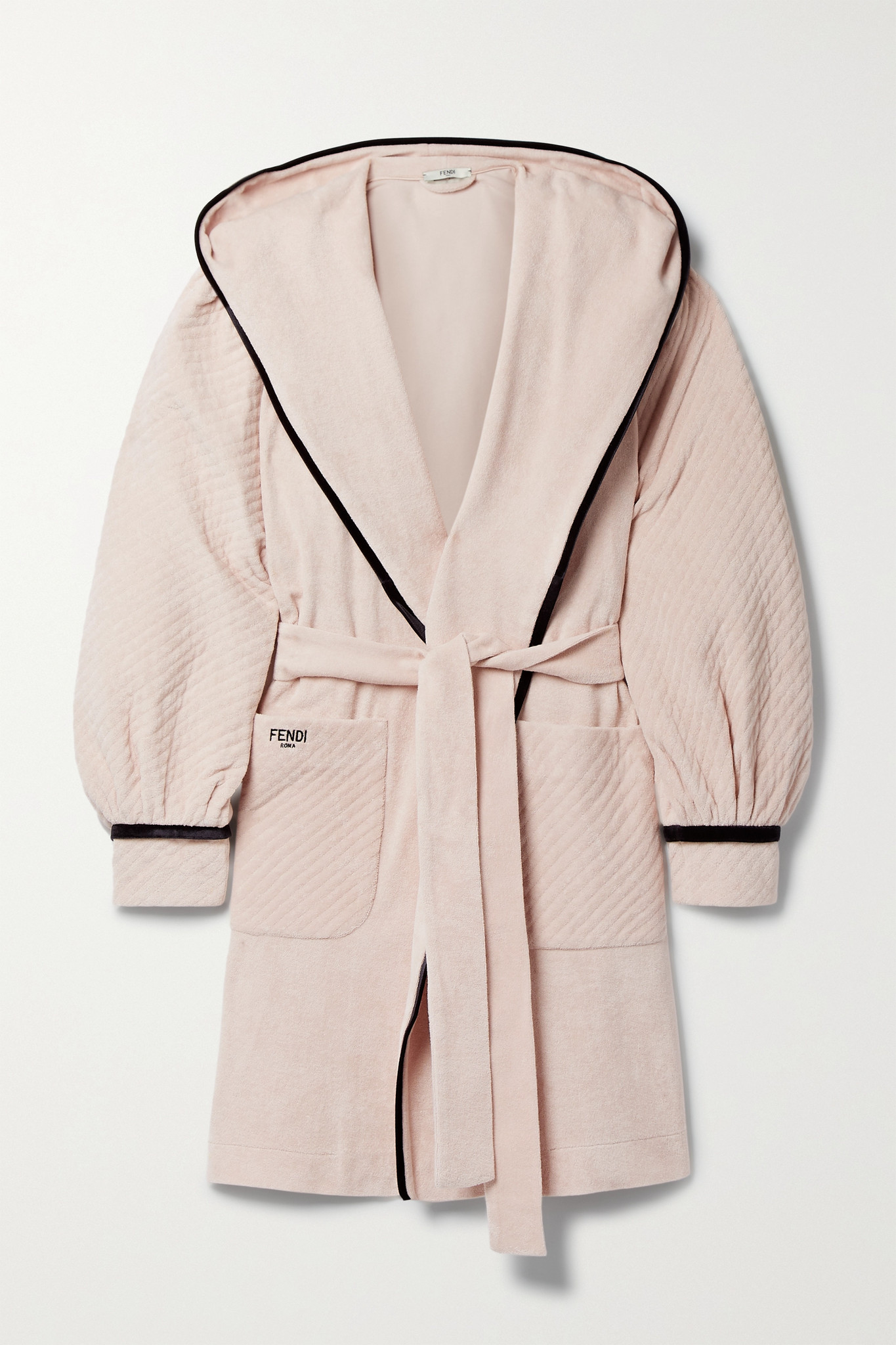 FENDI - Hooded Belted Velour-trimmed Cotton-terry Robe - Pink - IT44
