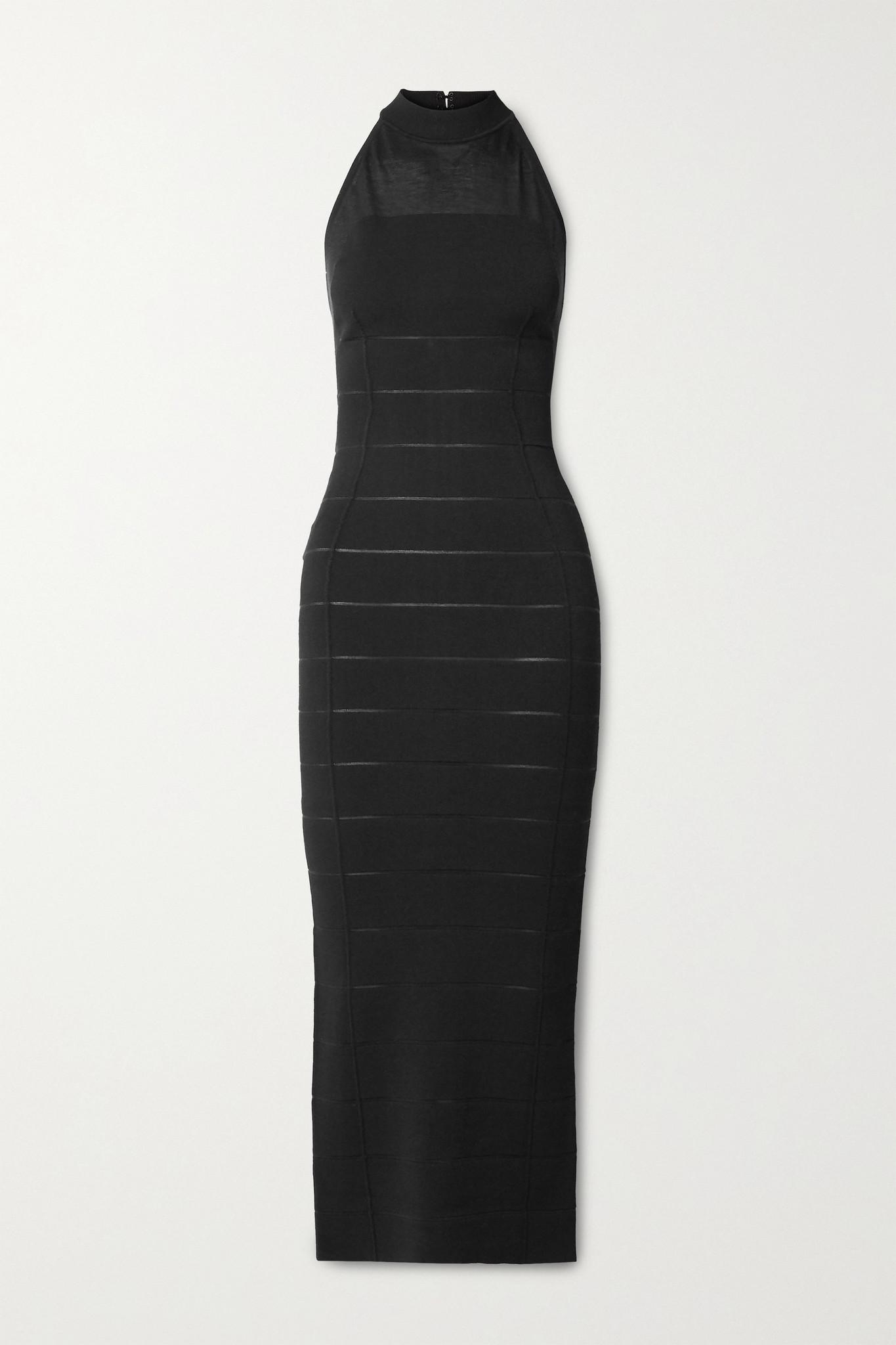 HERVÉ LÉGER - 绷带挂脖礼服 - 黑色 - medium