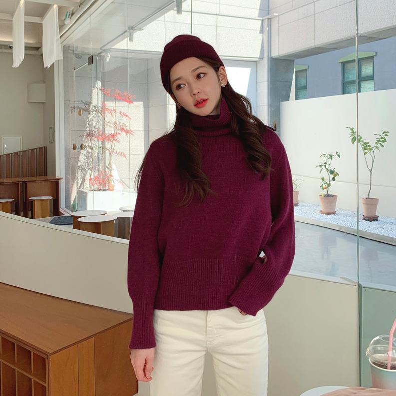 【限量現貨供應】韓國製.韓系溫柔素面螺紋高領毛衣.白鳥麗子 出清