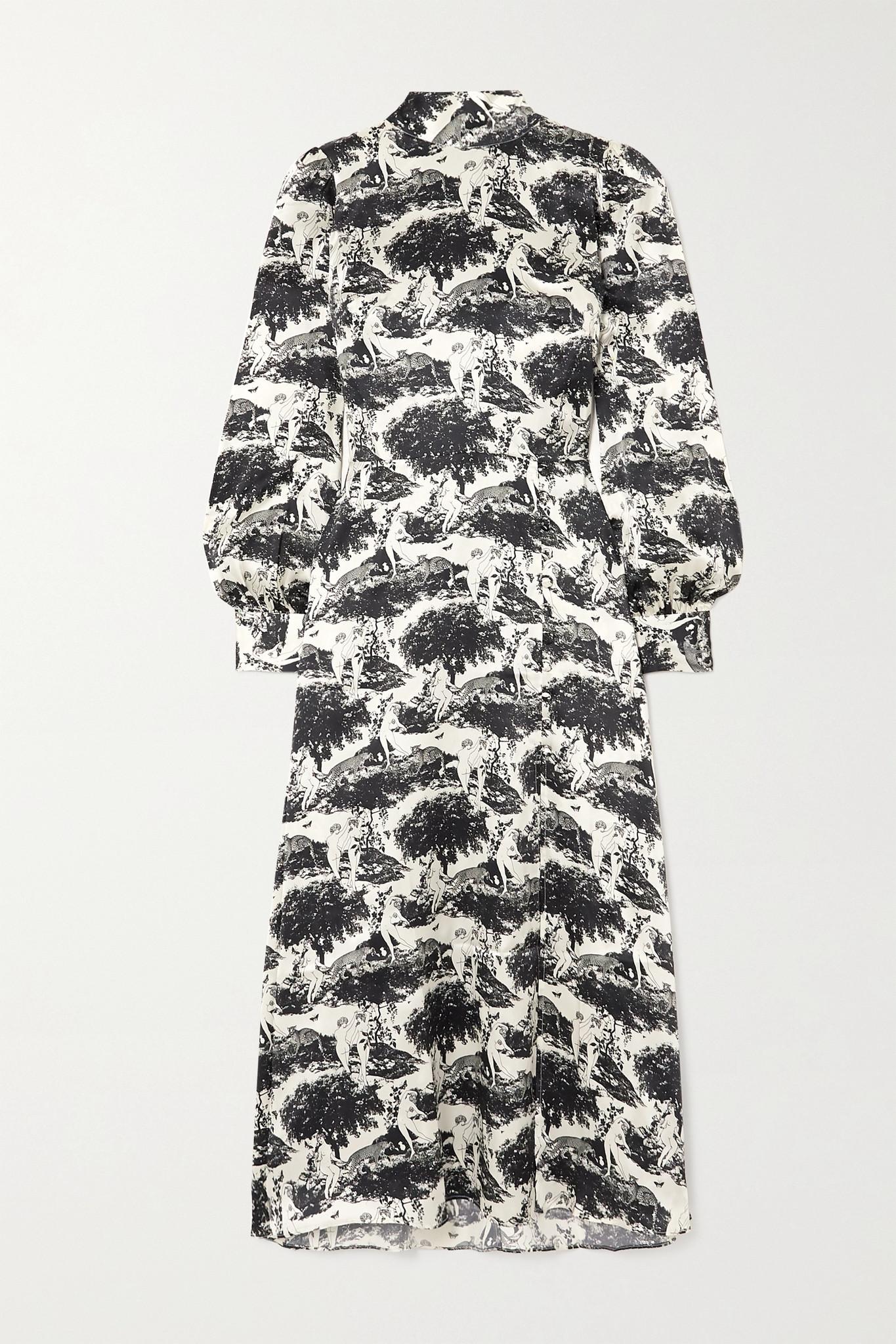 REFORMATION - Maple 印花丝缎中长连衣裙 - 白色 - US0