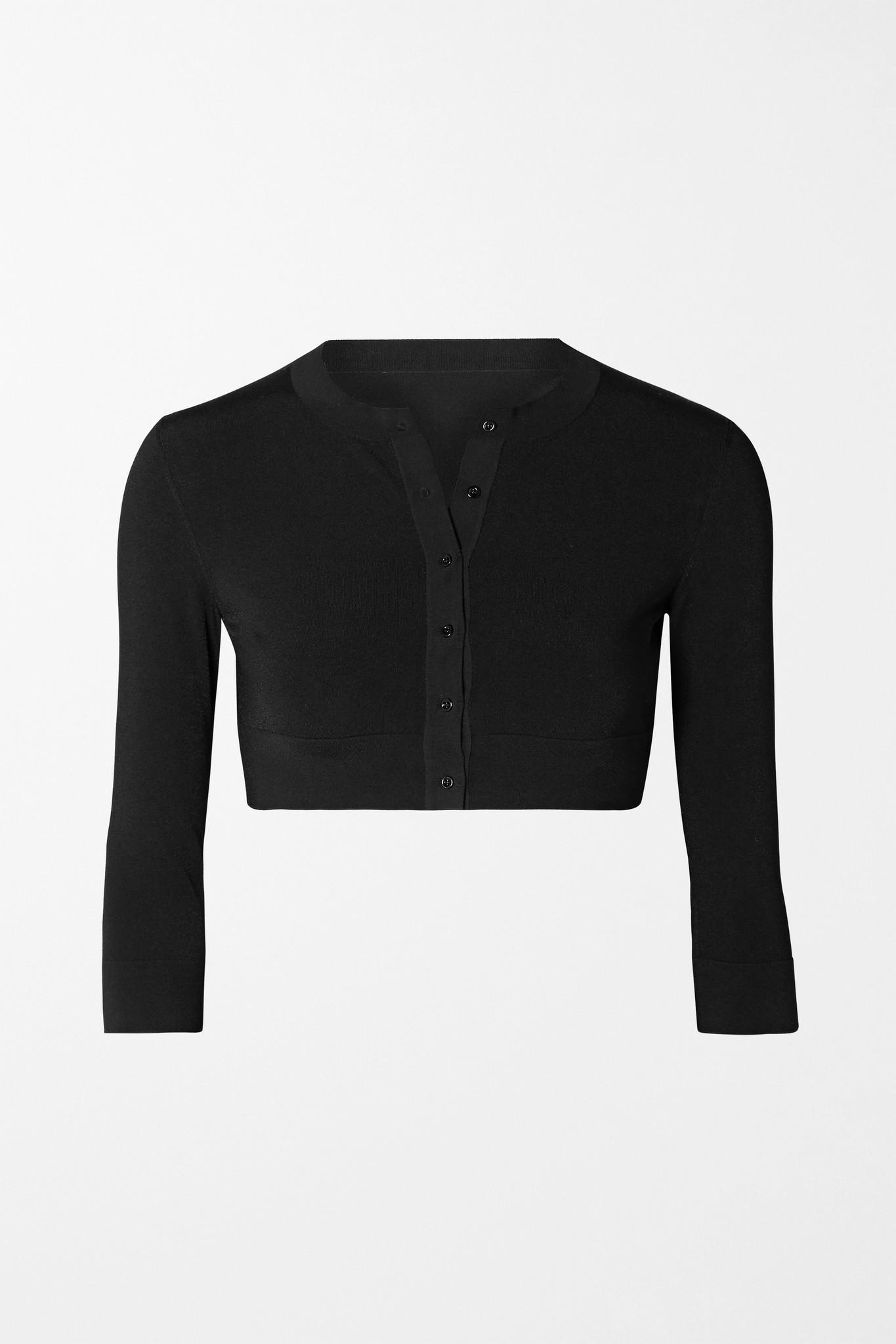 ALAÏA - Cropped Wool-blend Cardigan - Black - FR36