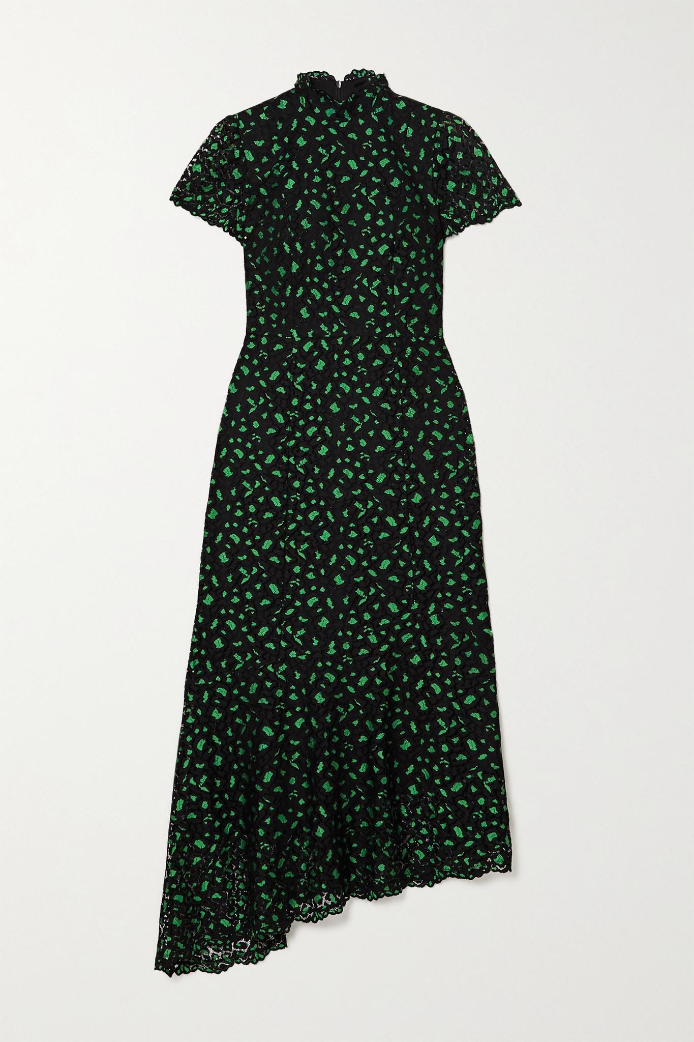 CEFINN - Kayla 不对称蕾丝高领中长连衣裙 - 黑色 - UK12