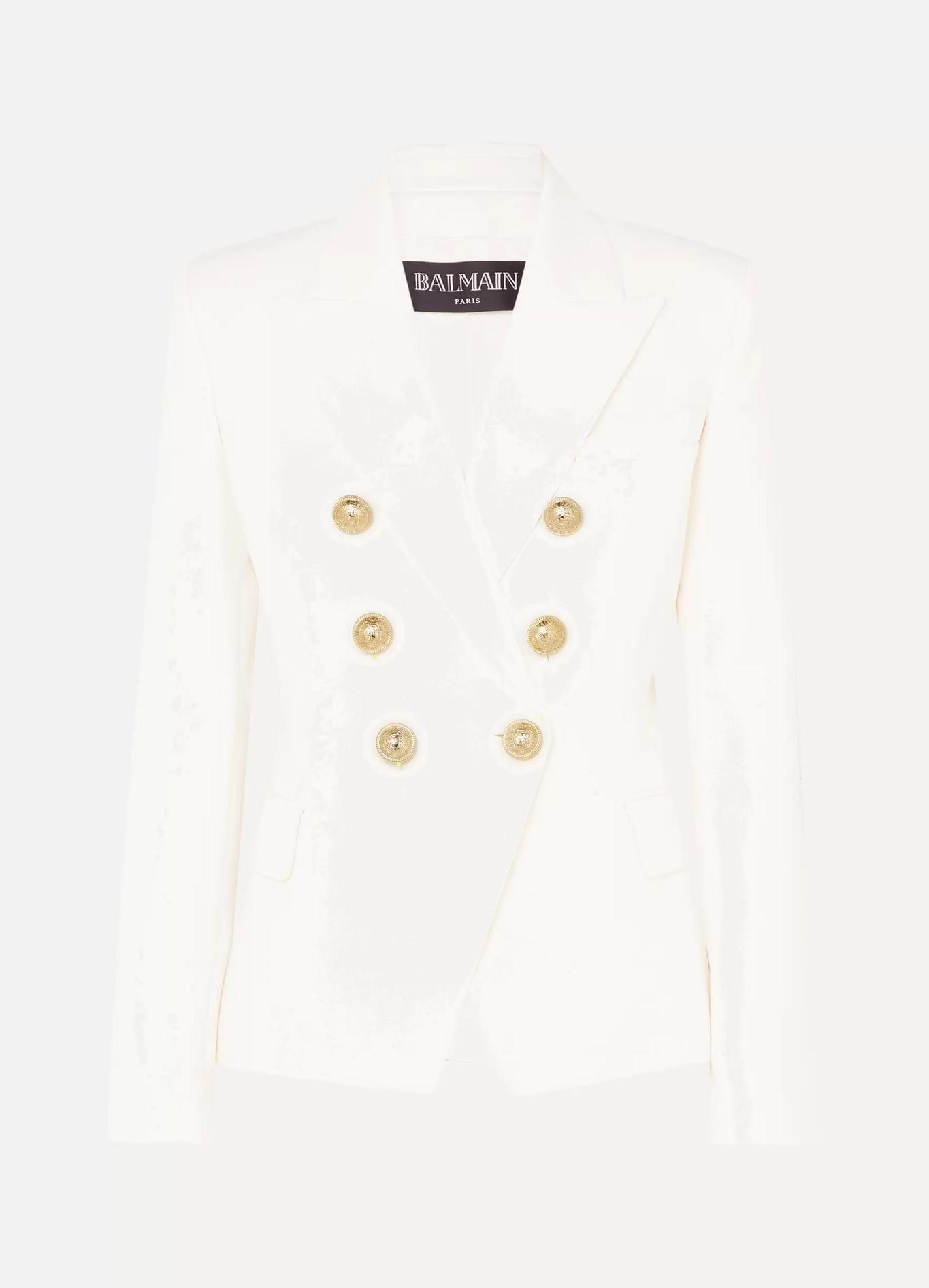BALMAIN - 双排扣羊毛斜纹布西装外套 - 白色 - FR36
