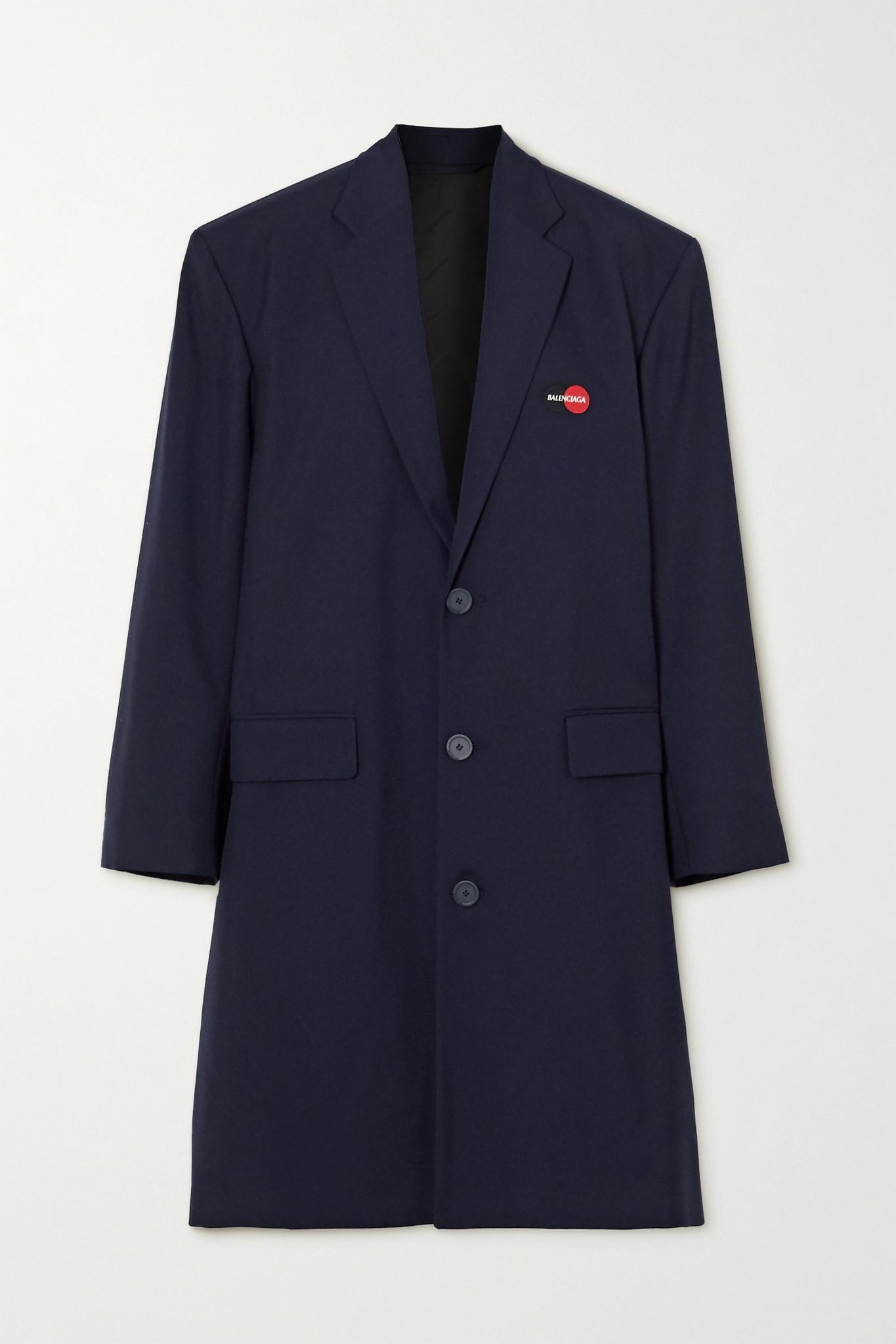 BALENCIAGA - Embroidered Wool-blend Coat - Blue - FR38