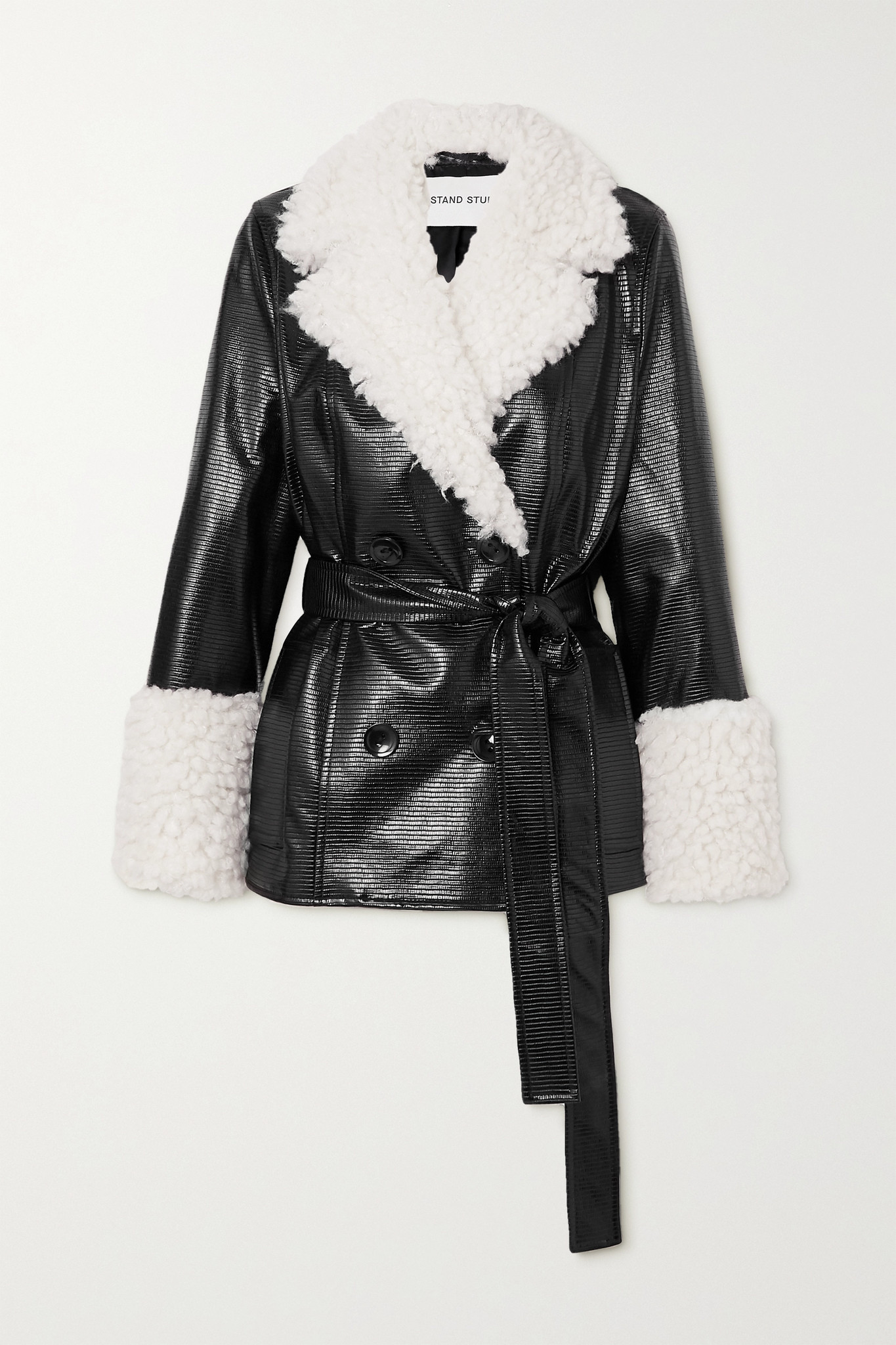 STAND STUDIO - Harmony Belted Faux Shearling-trimmed Faux Textured Patent-leather Coat - Black - FR4