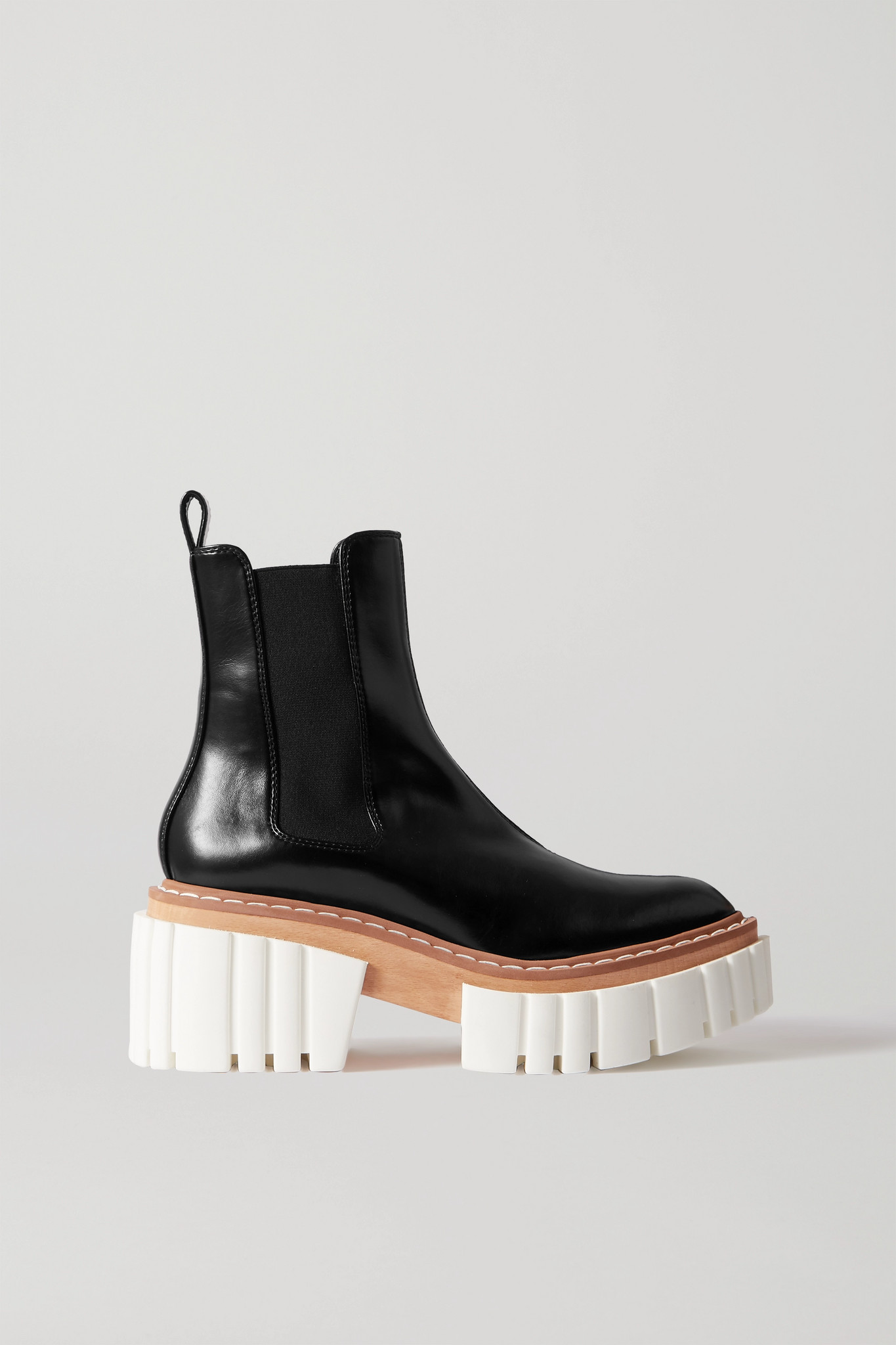 STELLA MCCARTNEY - Emilie Vegetarian Leather Platform Chelsea Boots - Black - IT39