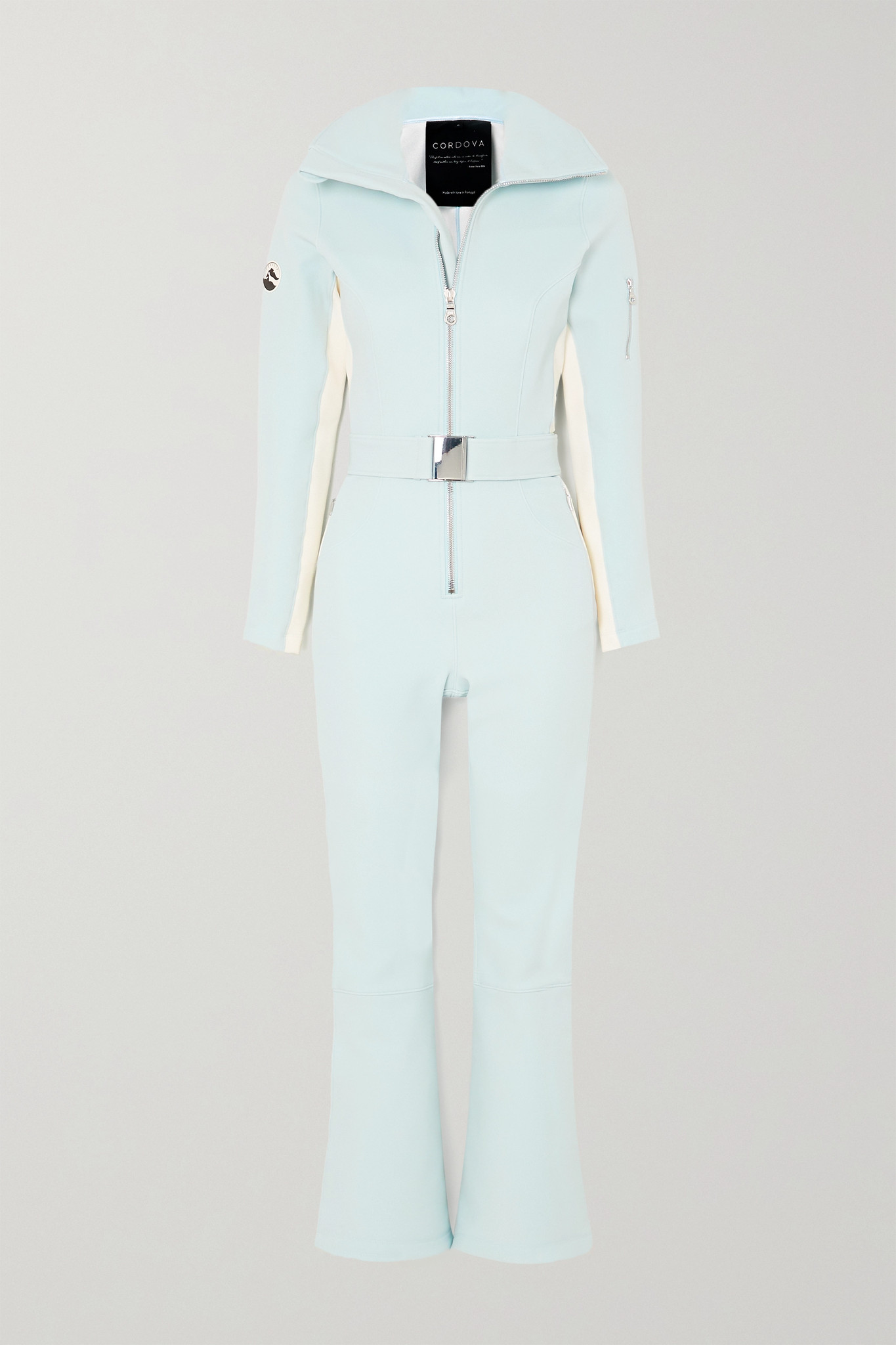 CORDOVA - Signature Over The Boot Belted Striped Ski Suit - Blue - x small