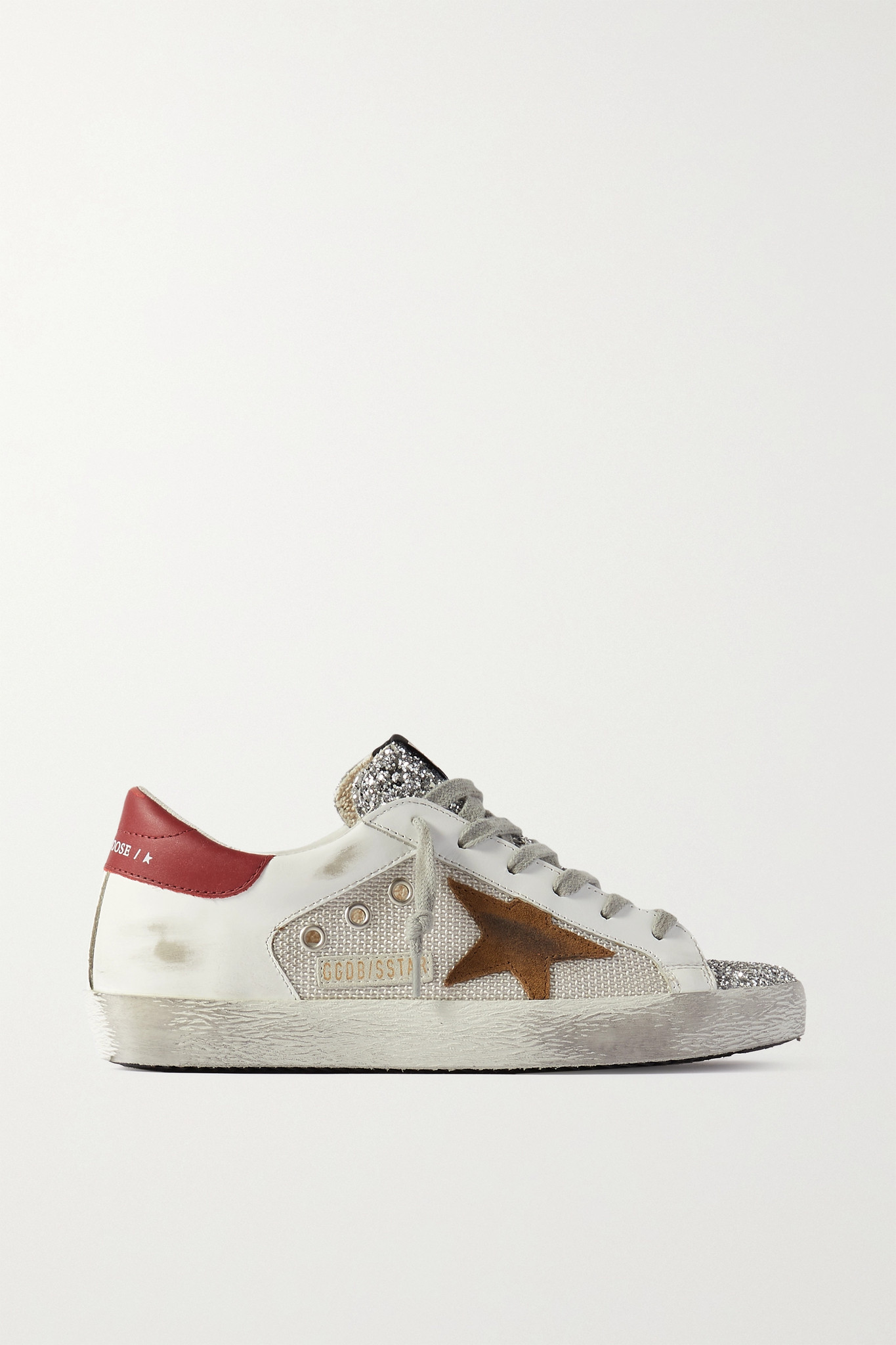 GOLDEN GOOSE - Superstar Glittered Distressed Leather, Suede And Canvas Sneakers - White - IT38