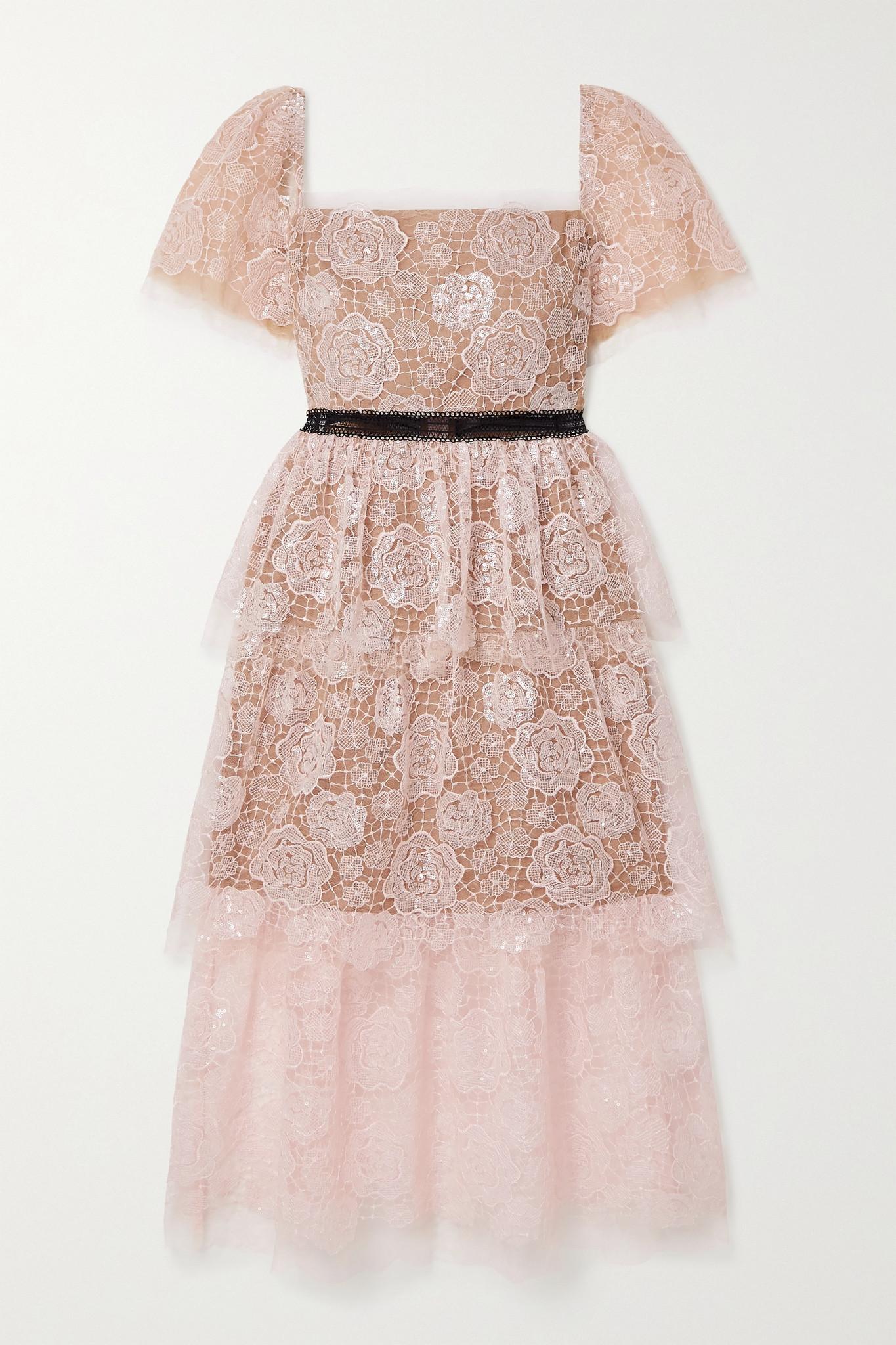SELF-PORTRAIT - Crochet-trimmed Sequin-embellished Corded Lace Midi Dress - Pink - UK4