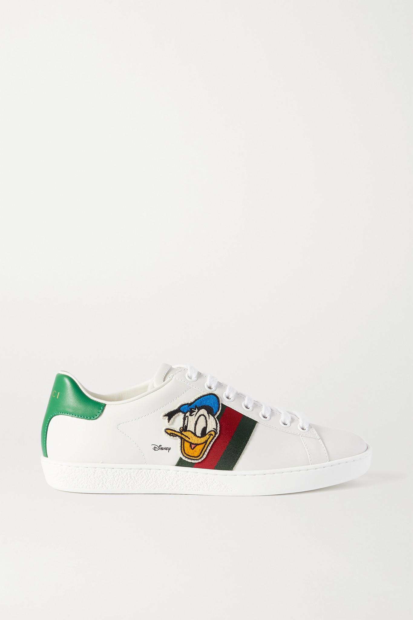 GUCCI - + Disney Ace Appliquéd Canvas-trimmed Leather Sneakers - White - IT39