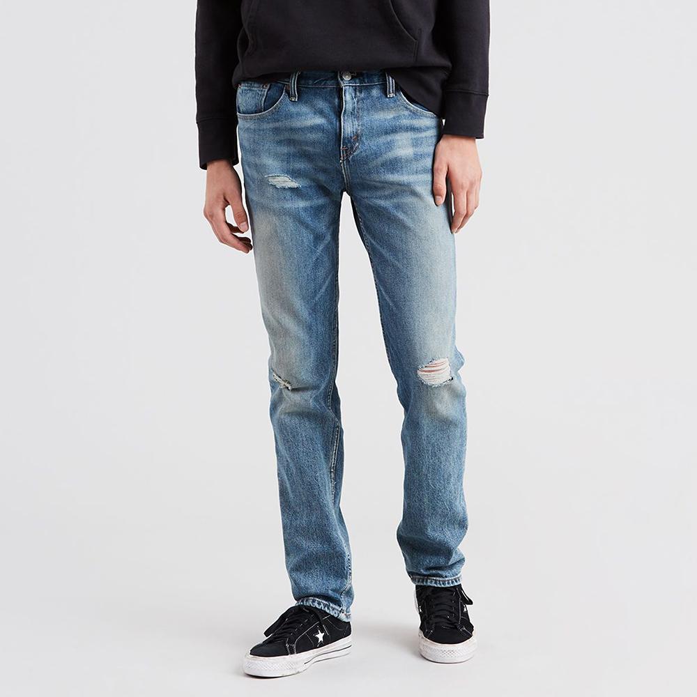 Levis 男款 511 低腰修身窄管牛仔褲 / 刷破 / 彈性布料-熱銷單品