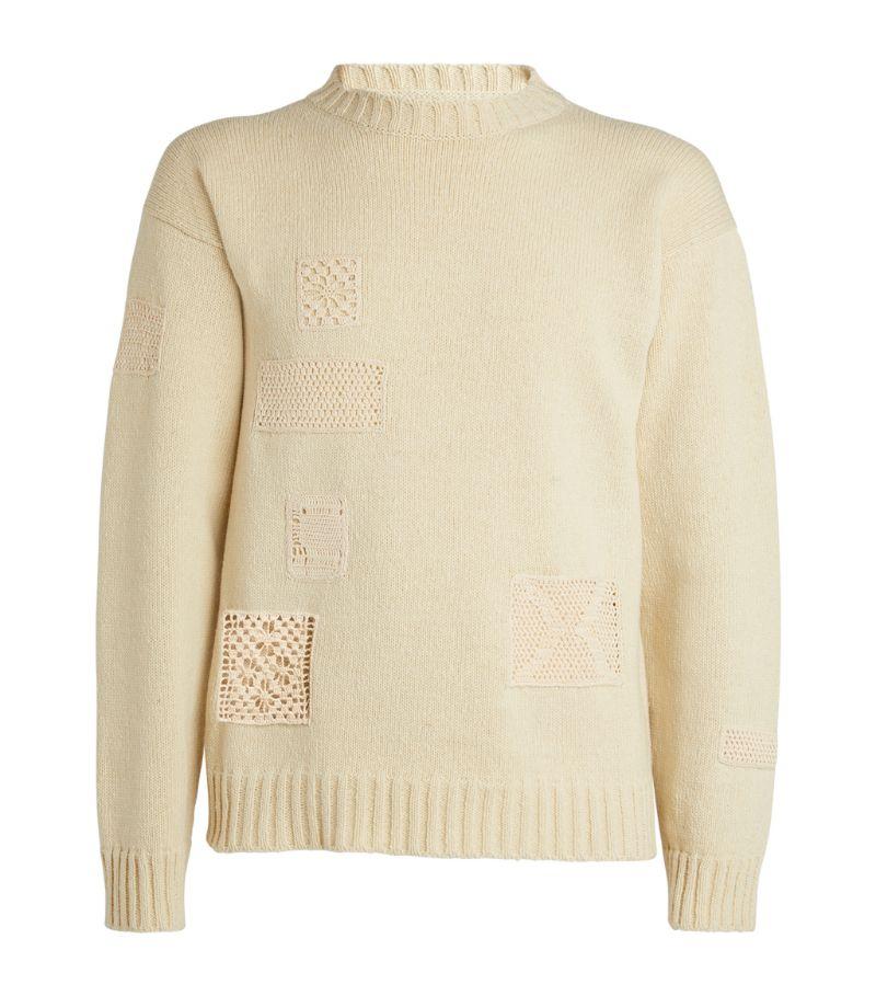 Jil Sander Wool Crochet-Detail Sweater