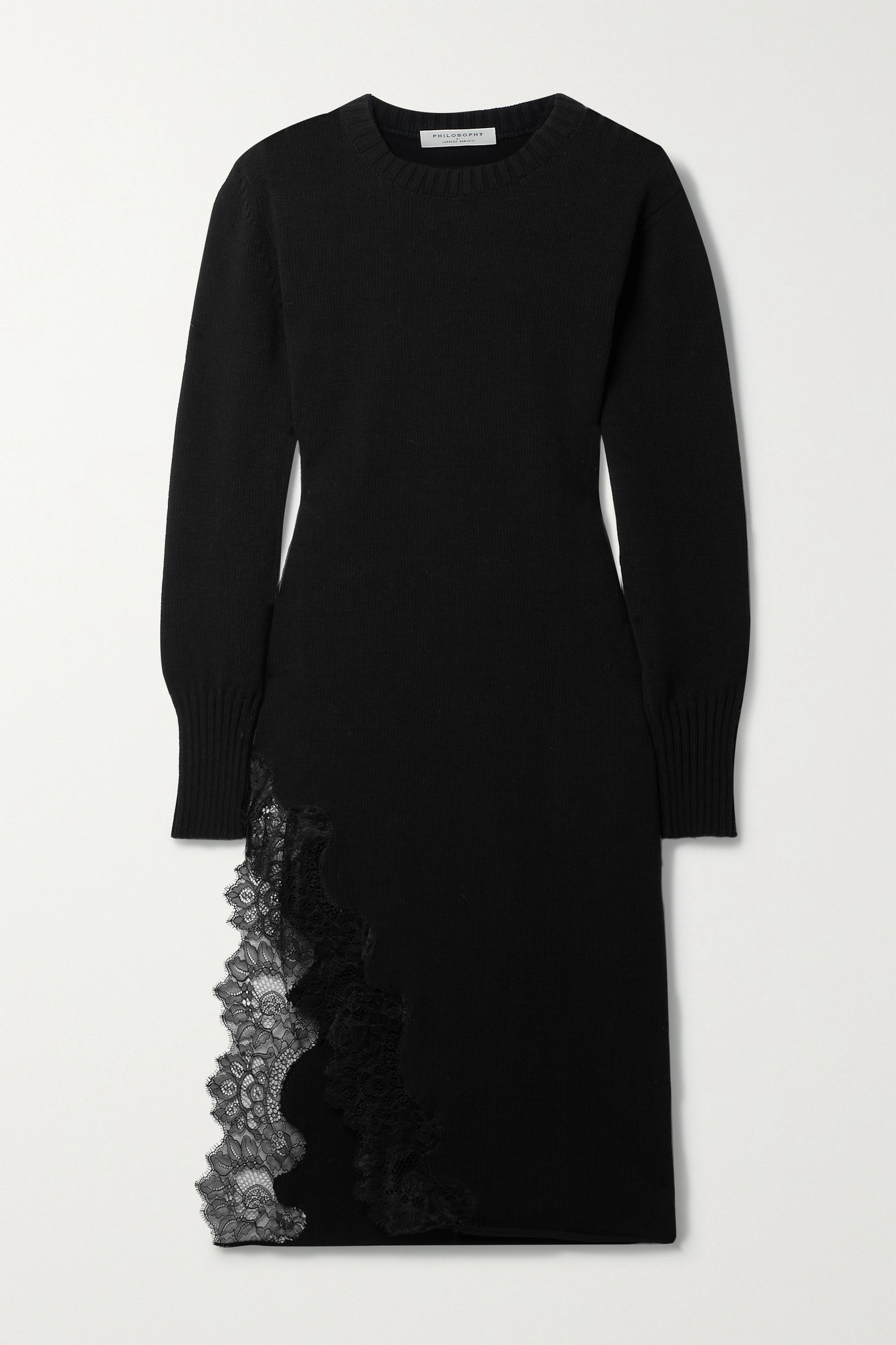 PHILOSOPHY DI LORENZO SERAFINI - Lace-trimmed Cotton-blend Midi Dress - Black - IT42