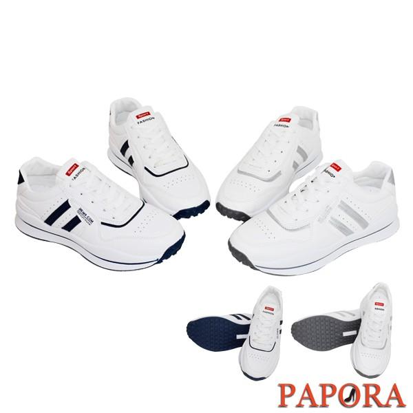 PAPORA休閒鞋 透氣百搭布鞋老爹鞋 增高厚底運動鞋