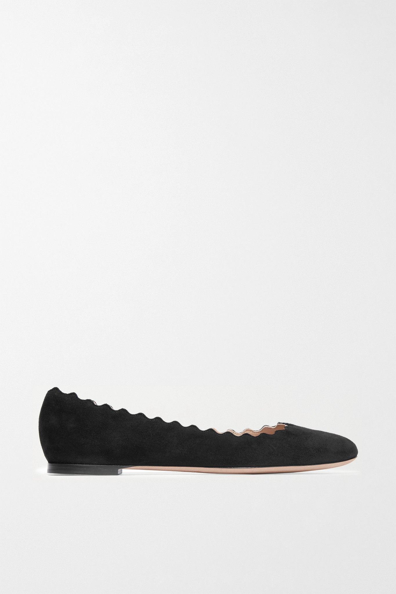CHLOÉ - Lauren Scalloped Suede Ballet Flats - Black - IT40.5