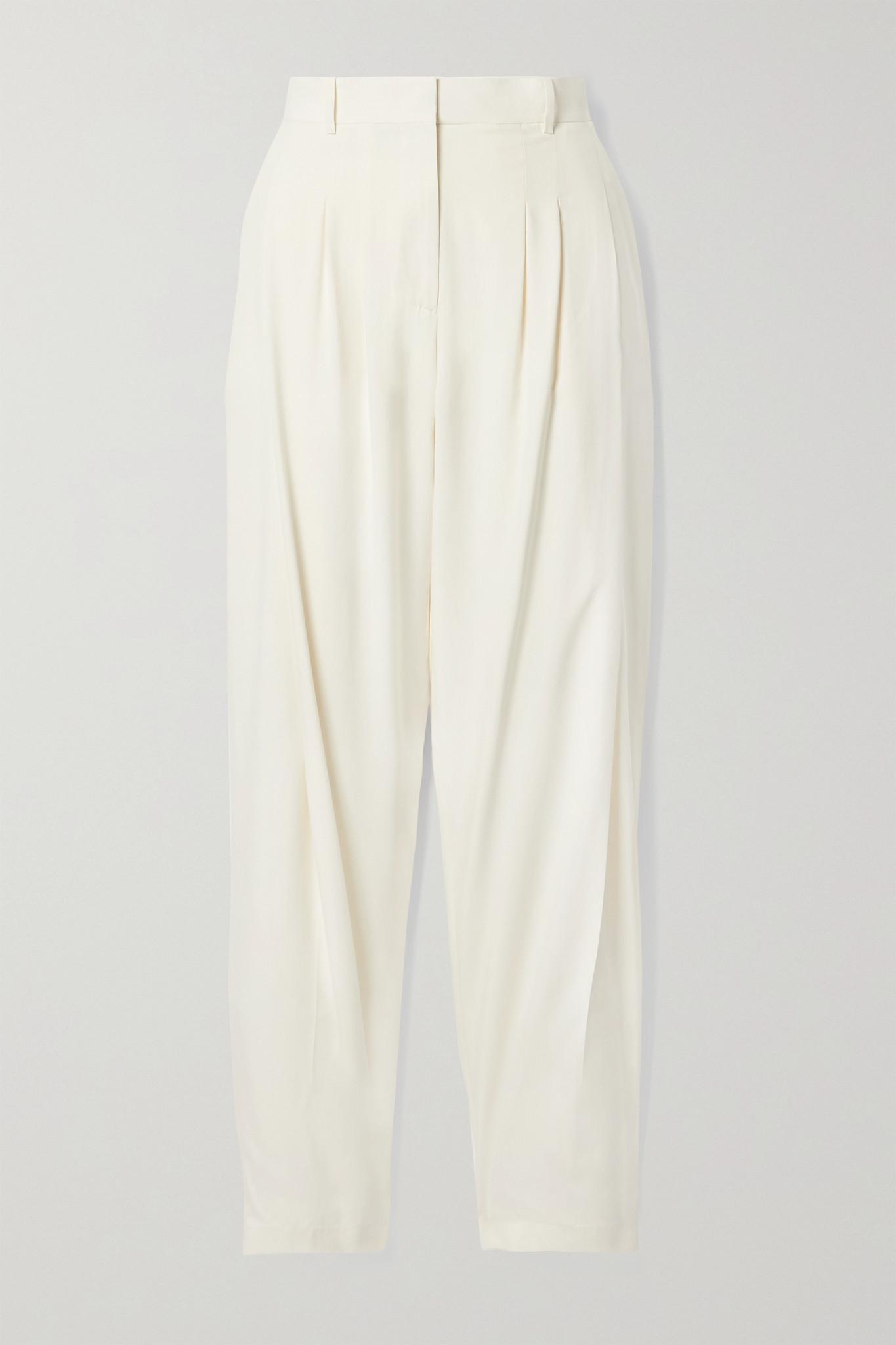 SALVATORE FERRAGAMO - Pleated Washed-silk Tapered Pants - Cream - IT44