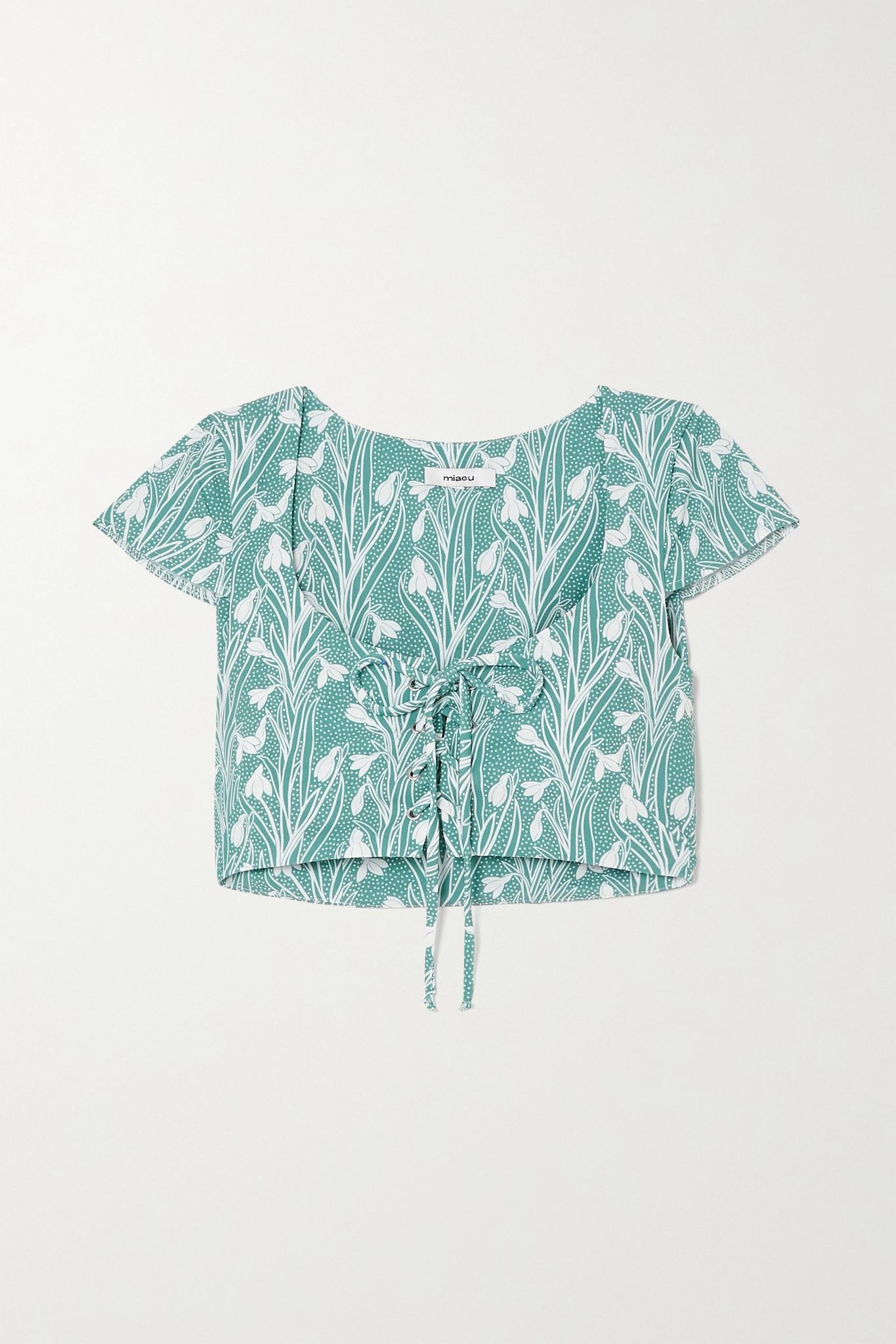 MIAOU - 【net Sustain】arielle 绑带式花卉印花弹力绉纱短款上衣 - 绿色 - large