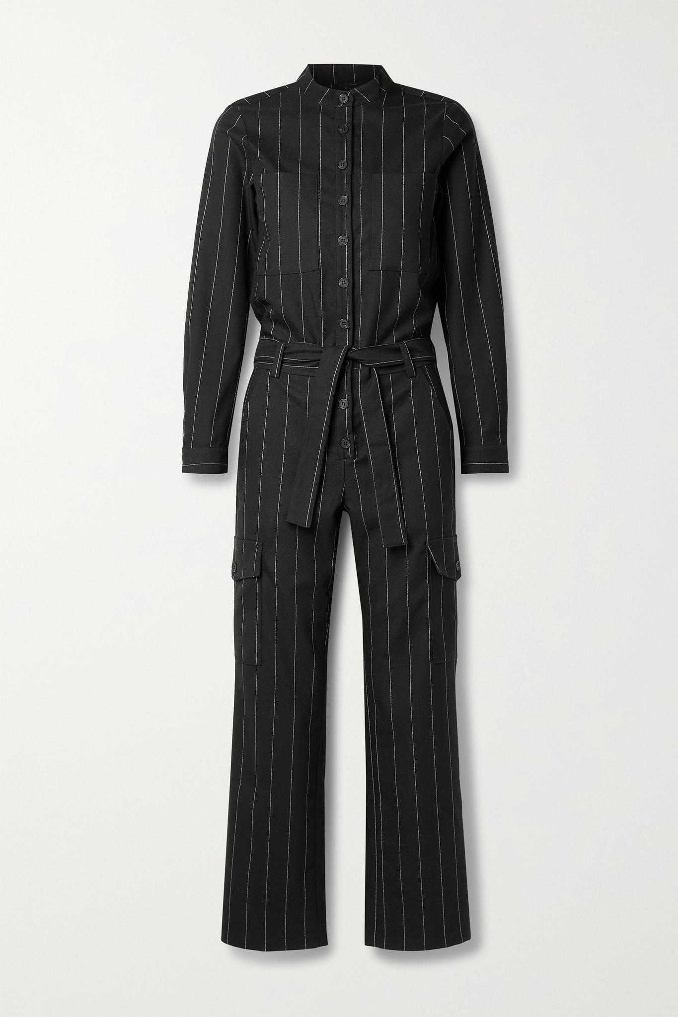 THE RANGE - Zoot 配腰带细条纹绉纱连身裤 - 黑色 - small