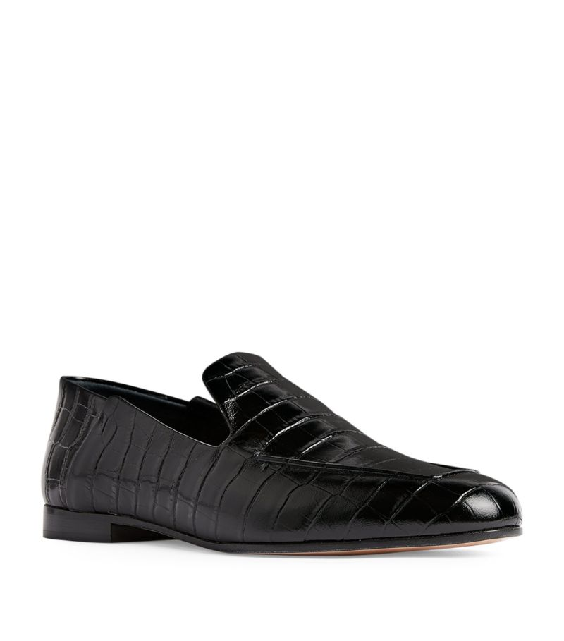 Max Mara Croc-Embossed Leather Loafers