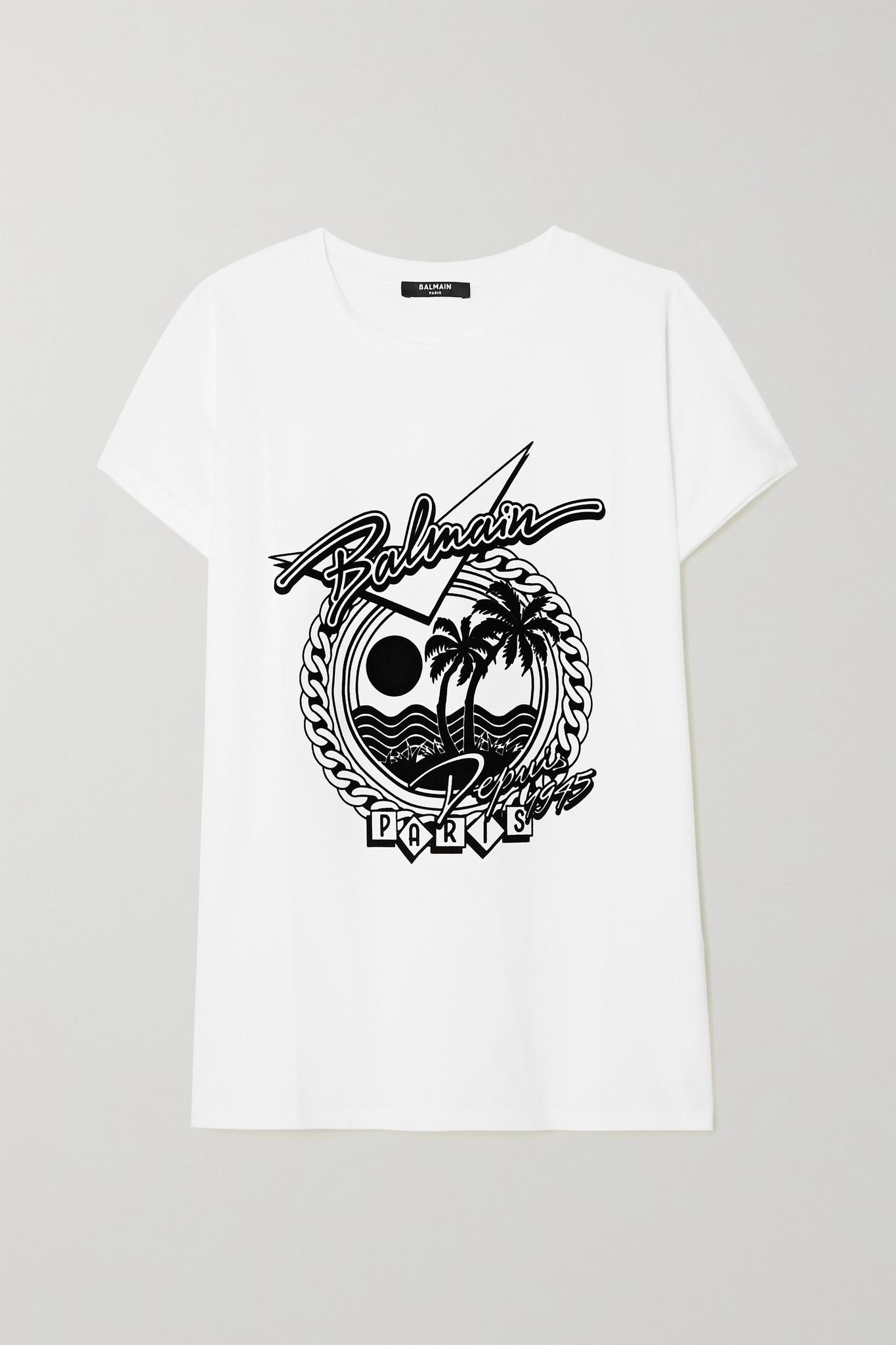 BALMAIN - Printed Cotton-jersey T-shirt - White - xx small