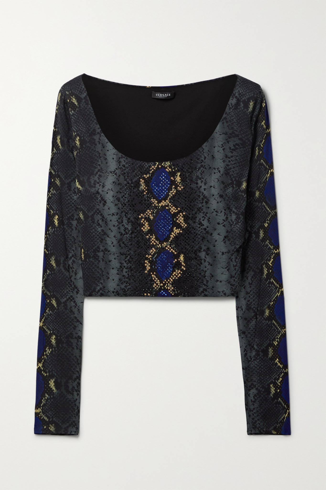 VERSACE - Cropped Embellished Snake-print Stretch-jersey Top - Blue - IT38