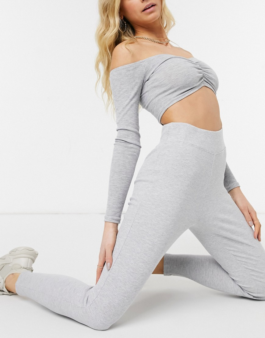 Threadbare ribbed high waisted legging in grey