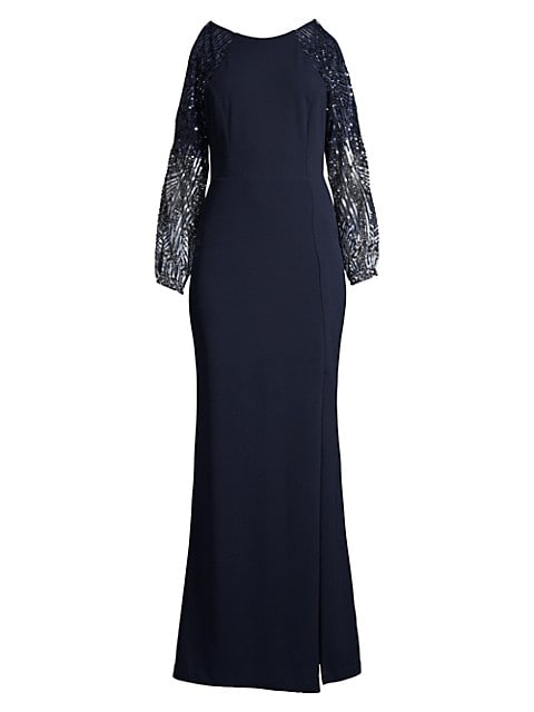 Cold-Shoulder Yoke Crepe Dress