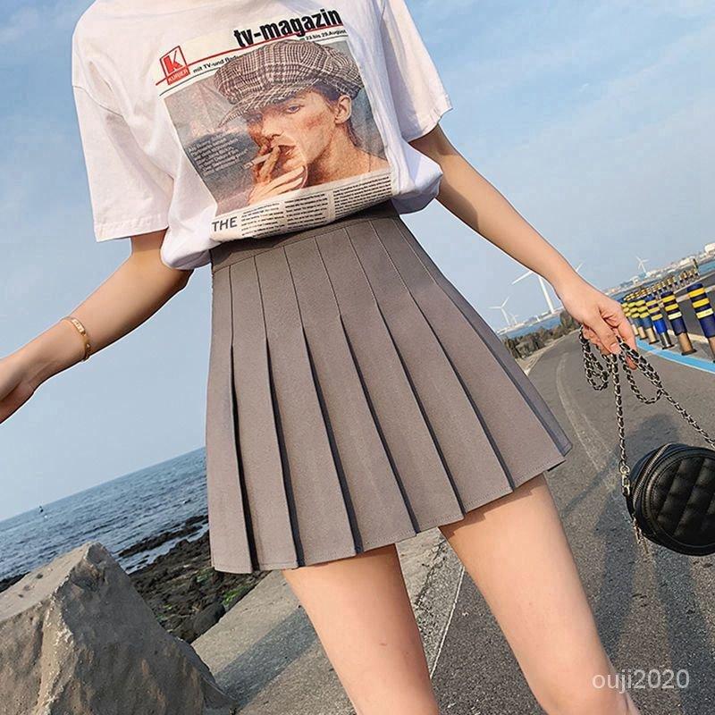 防顯瘦日系春秋學院風短裙少女裙A字裙百褶裙新款純色走光高腰