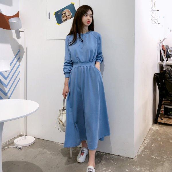 韓國製.日雜簡約壓摺收腰口袋圓領洋裝.白鳥麗子