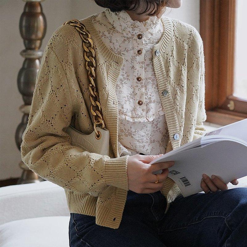 鏤空菱形絞花針織衫 開衫 兩色 春款 羊毛混紡 Sora-679